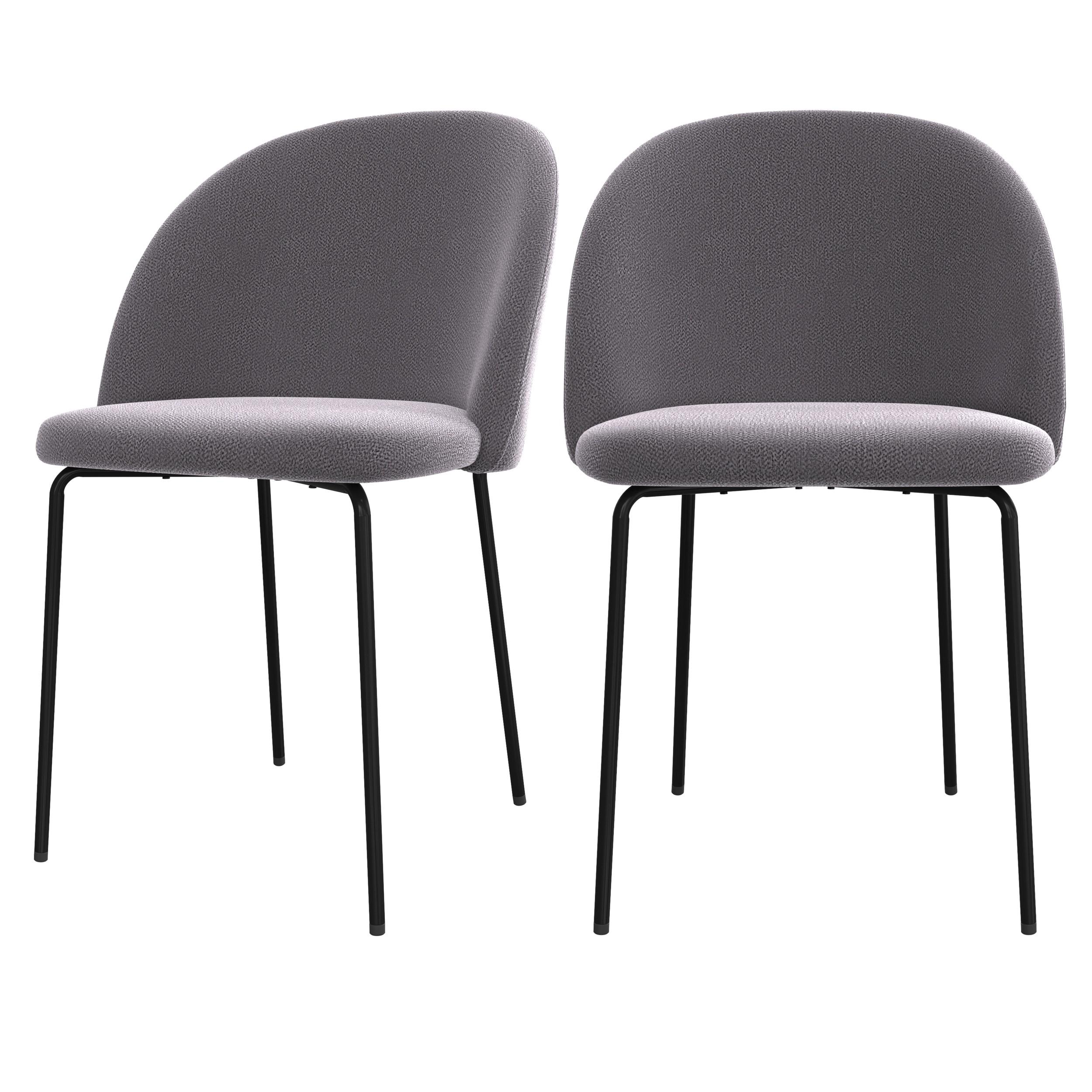 acheter chaise gris fonce lot de 2