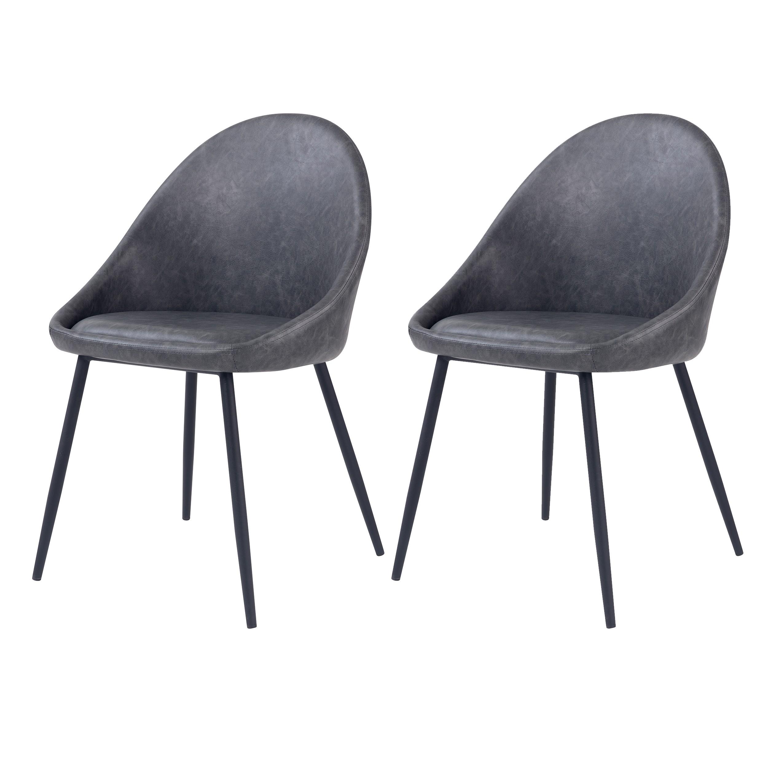 acheter chaise grise fonce en simili cuir