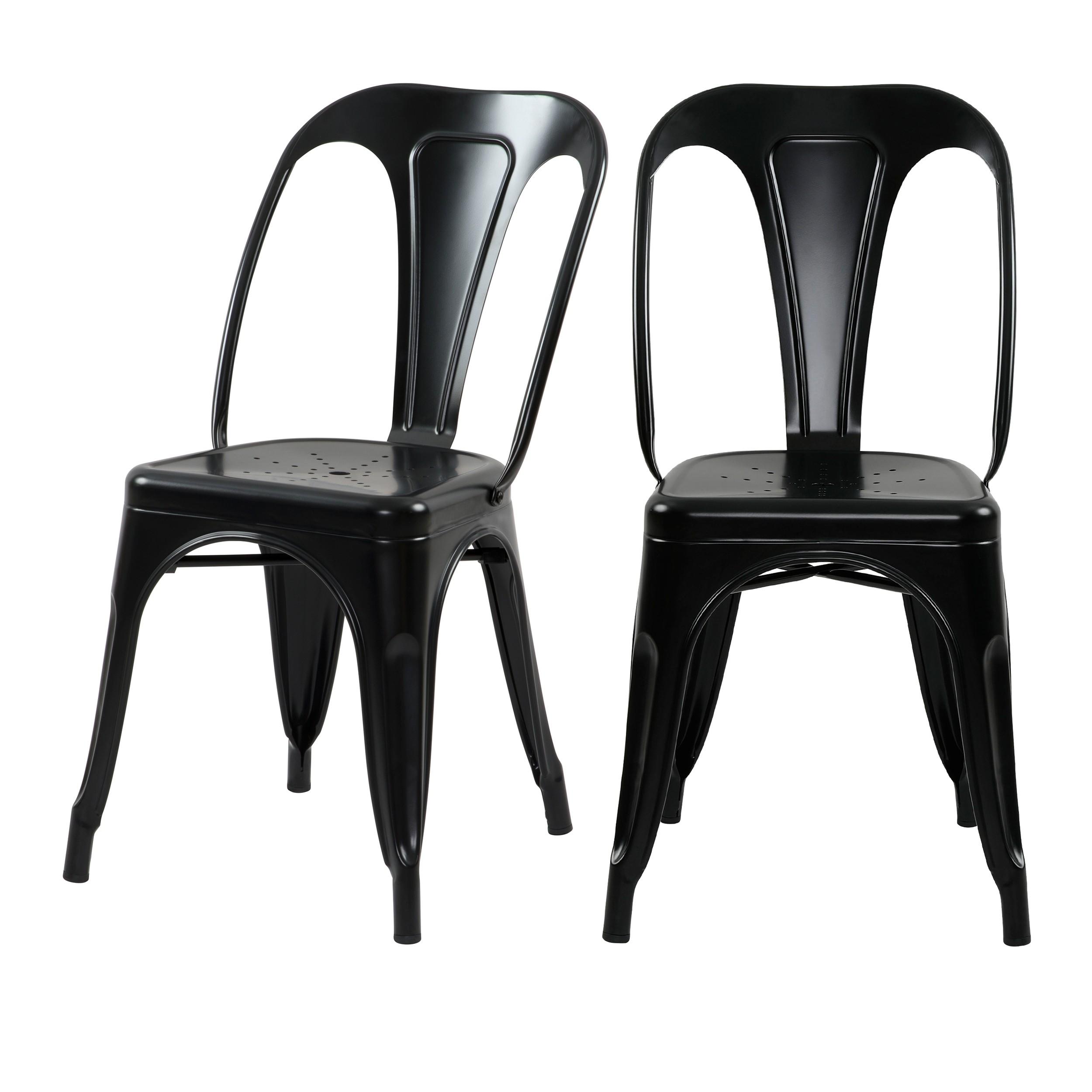 acheter chaise industrielle noire metal lot de 2