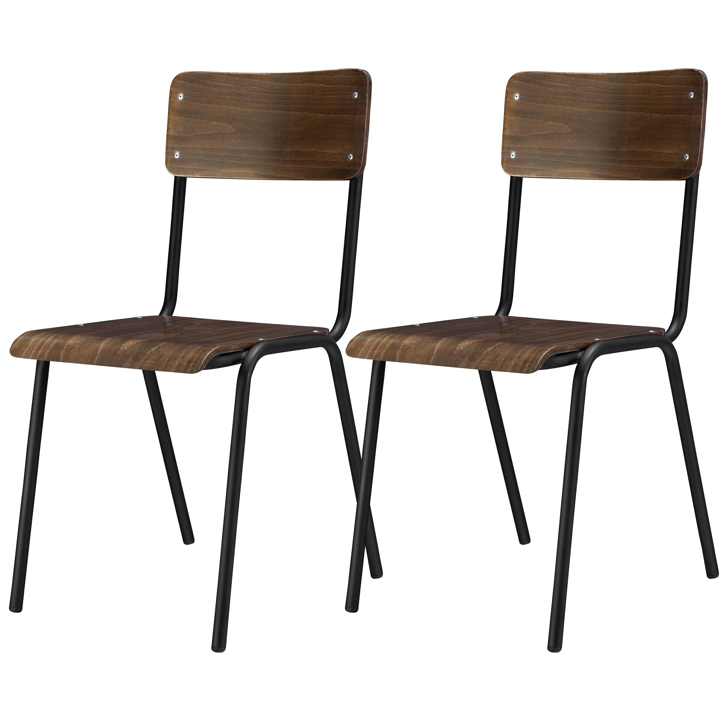Chaise Bois Et Metal Industriel chaise d'écolier velrans en bois (lot de 2)