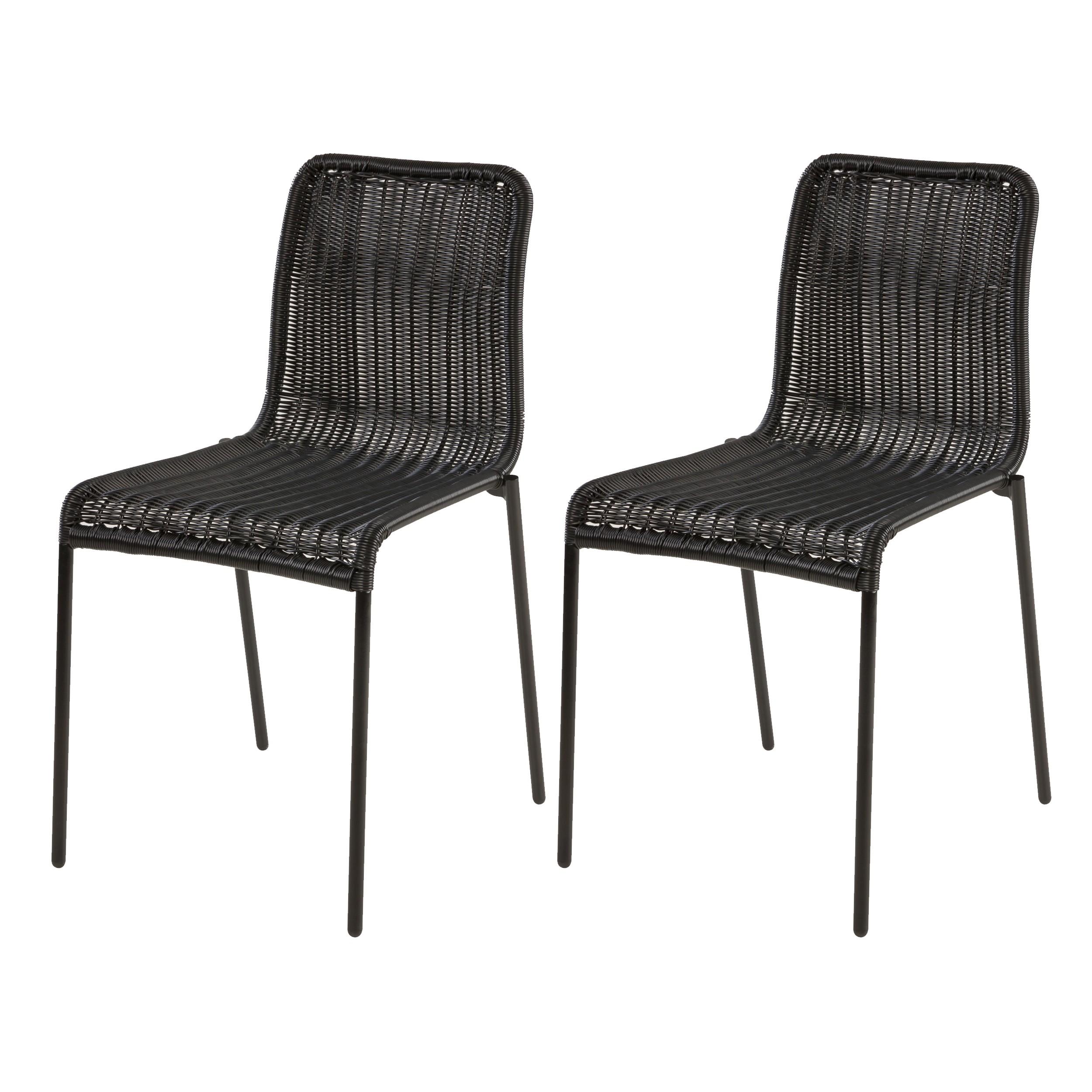 acheter chaise lot de 2 en resine noire