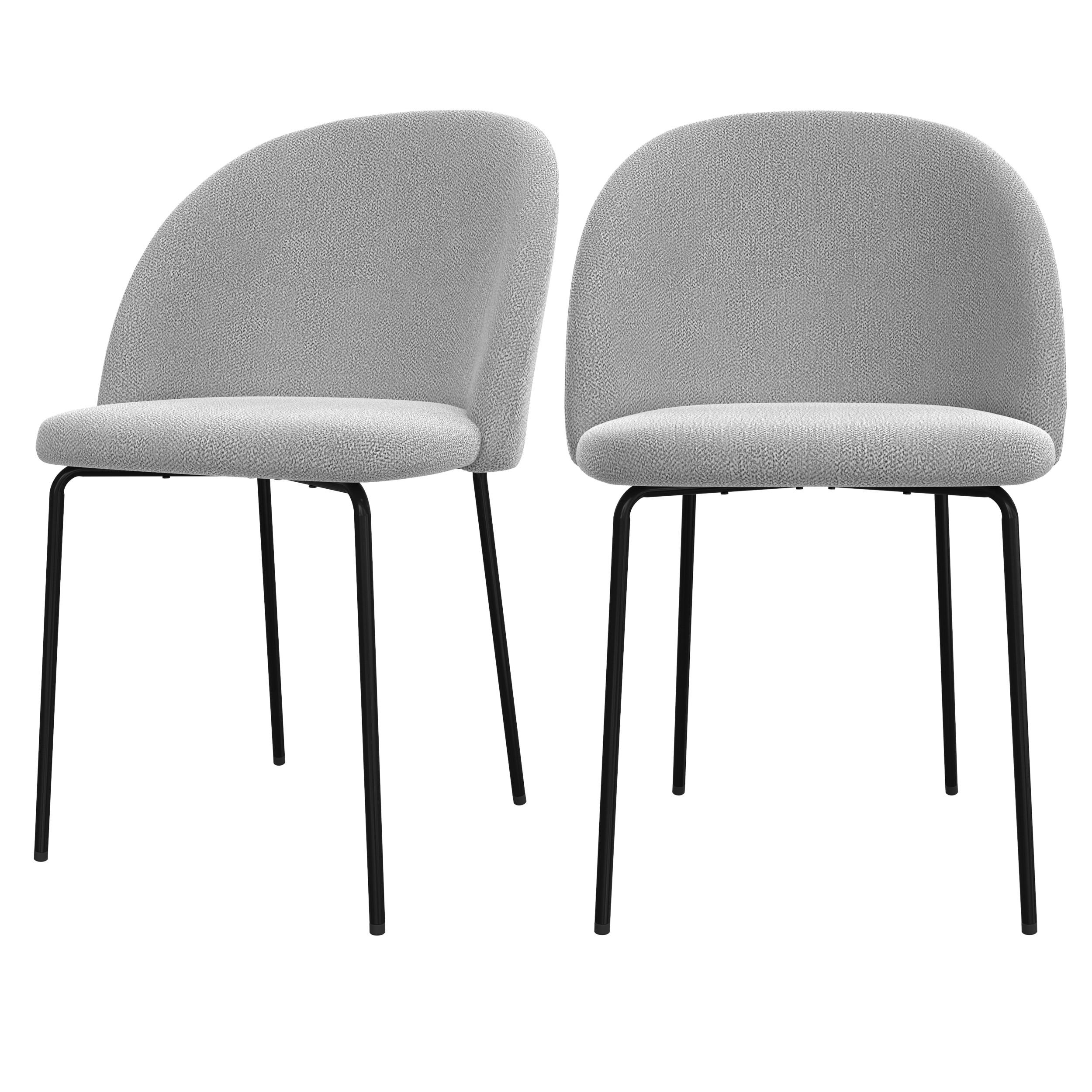 acheter chaise lot de 2 en tissu gris clair