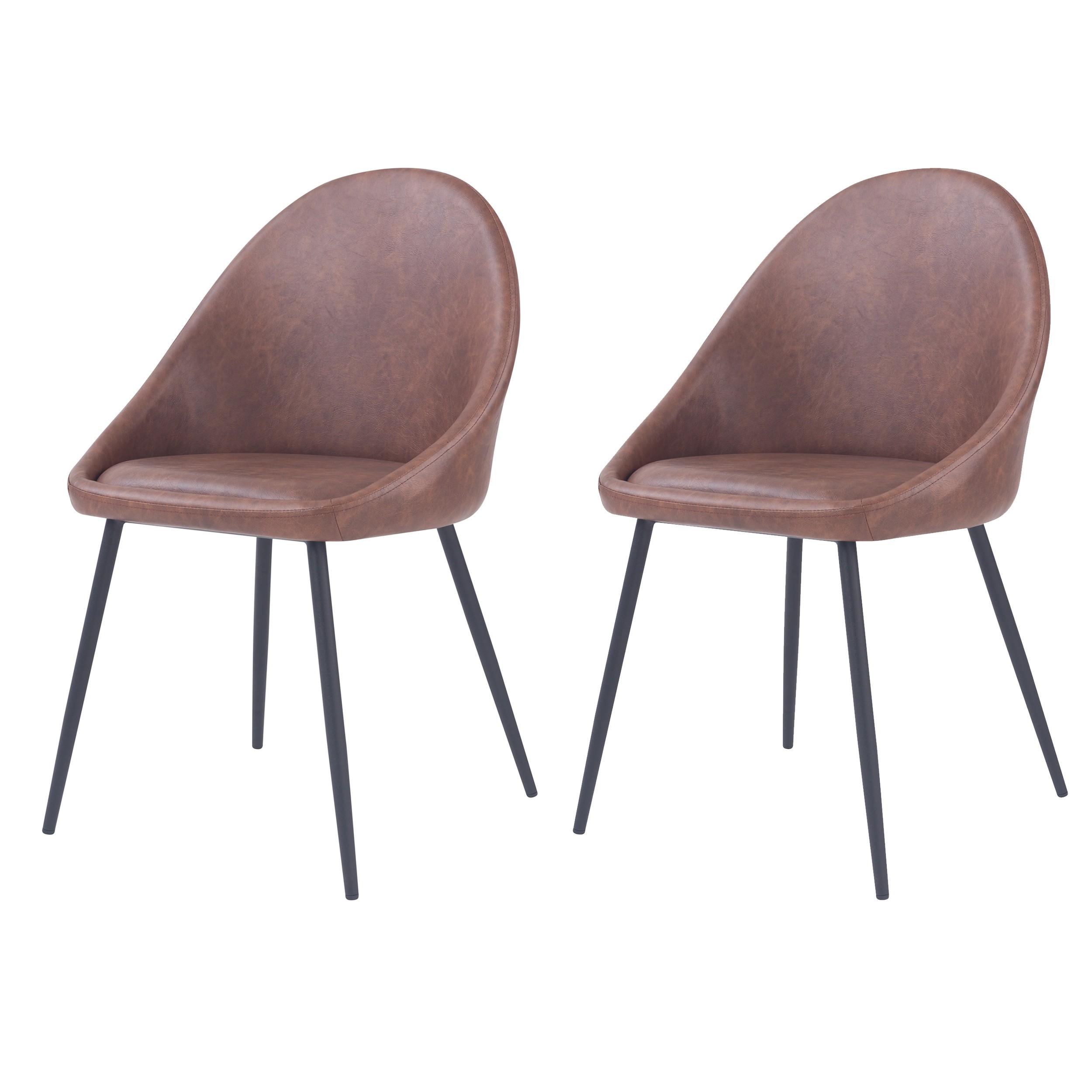acheter chaise lot de 2 marron simili cuir