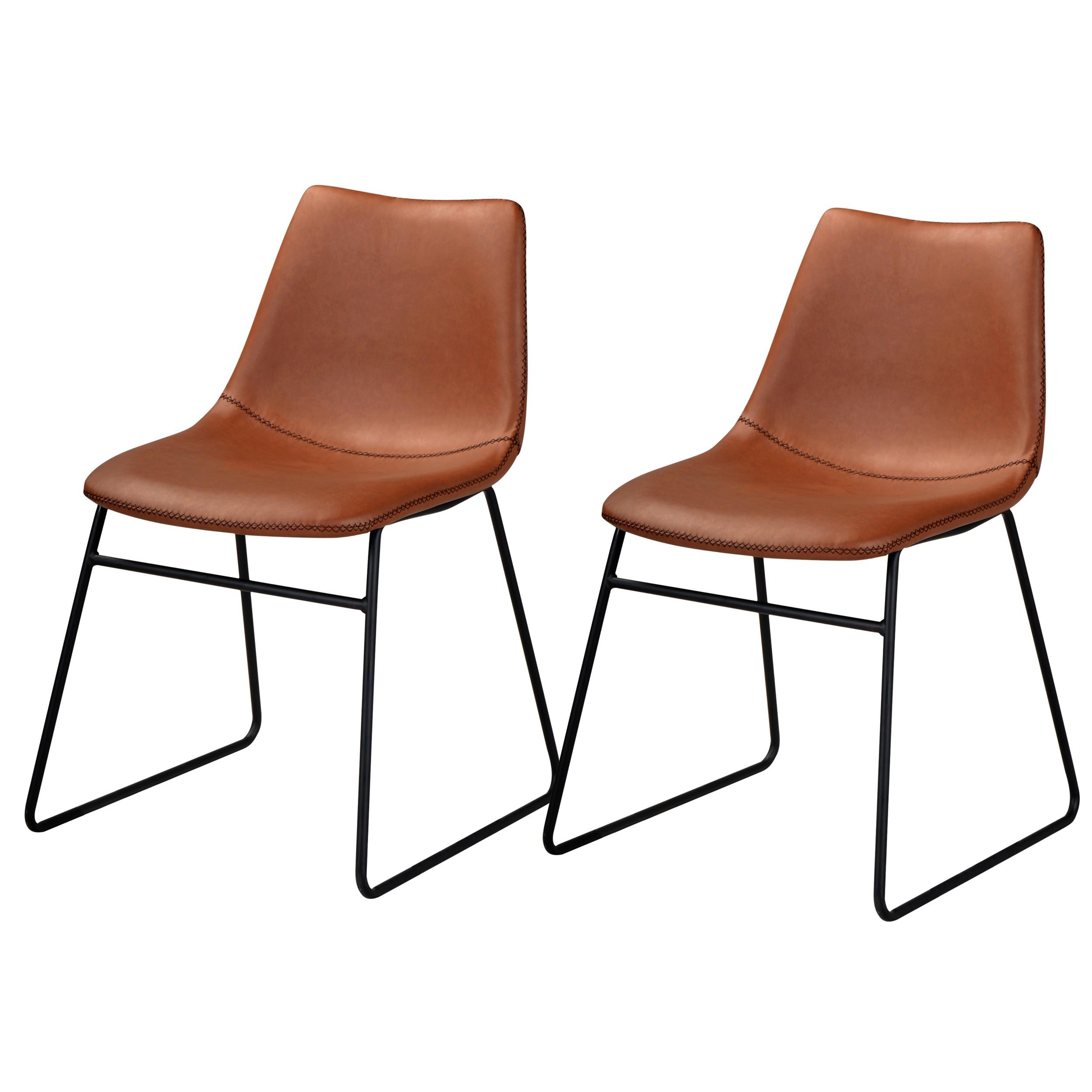 acheter chaise lot de 2 marron simili