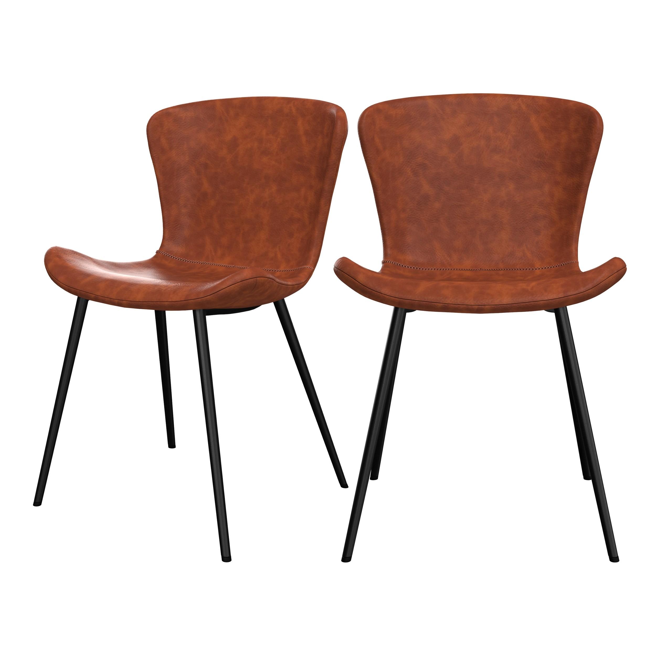 acheter chaise lot de 2 marron vintage