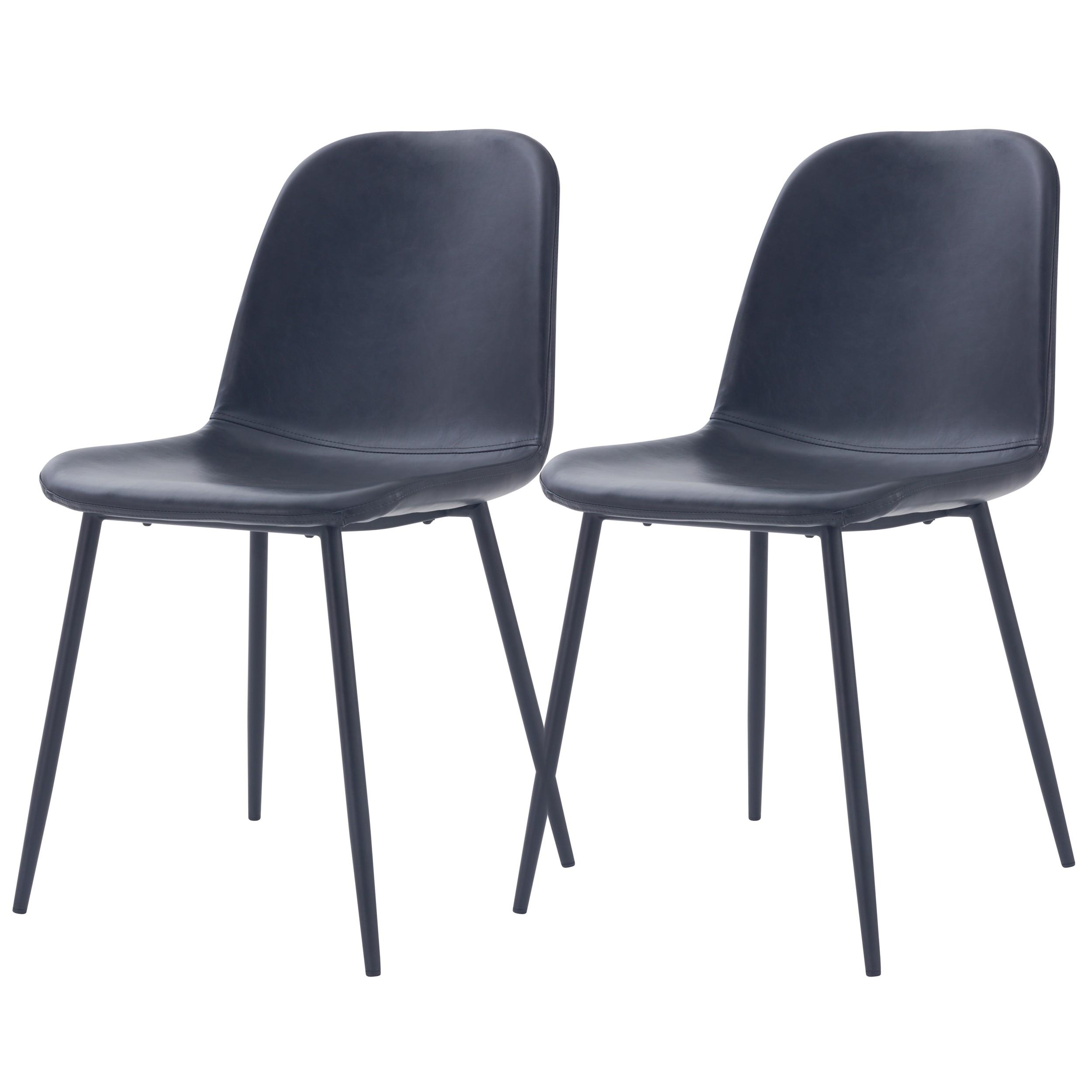 acheter chaise lot de 2 synthetique noire