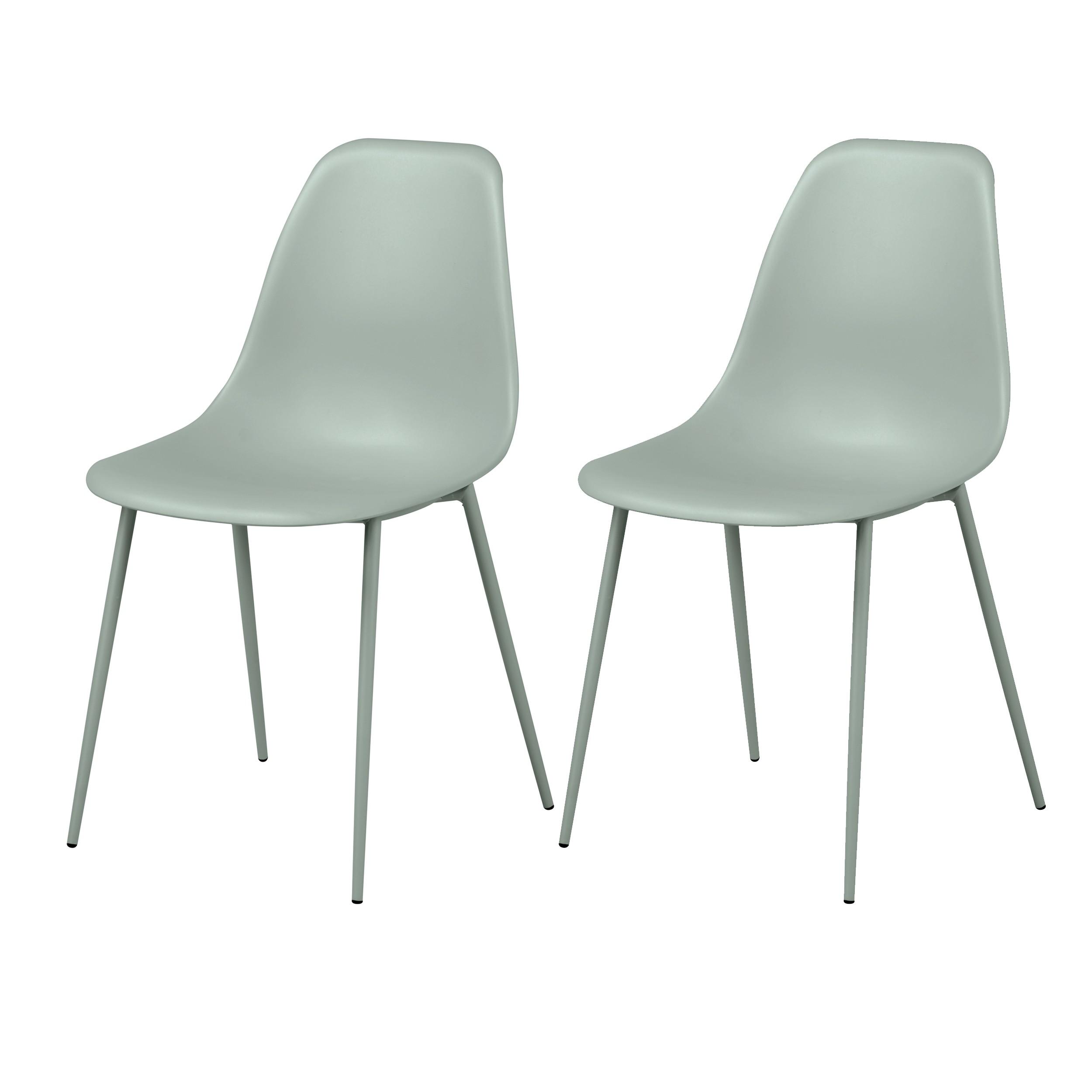 acheter chaise lot de 2 vert pastel design