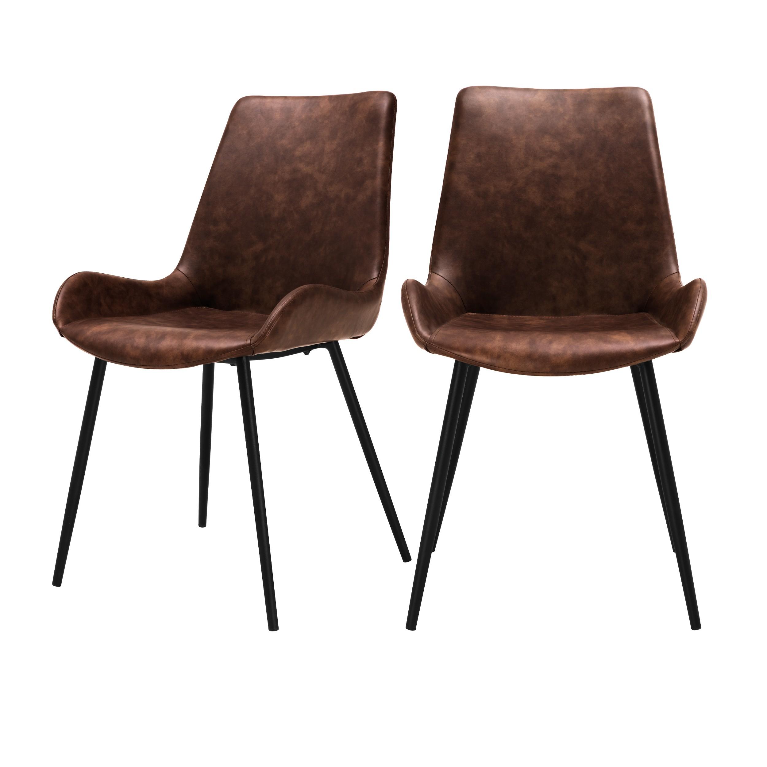 acheter chaise marron cuir synthetique lot de 2