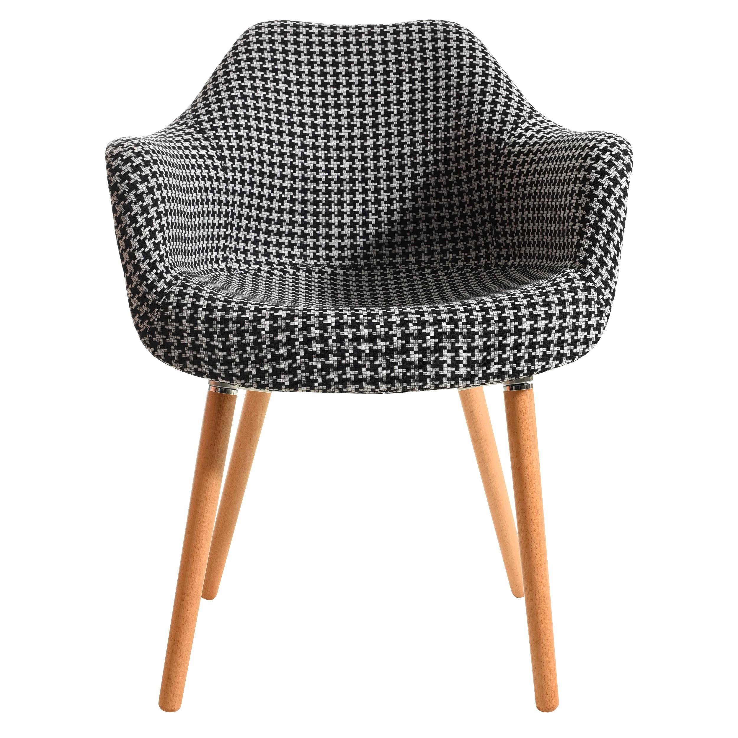 Grand Acheter Chaise Motif Tissu Et Pieds Bois