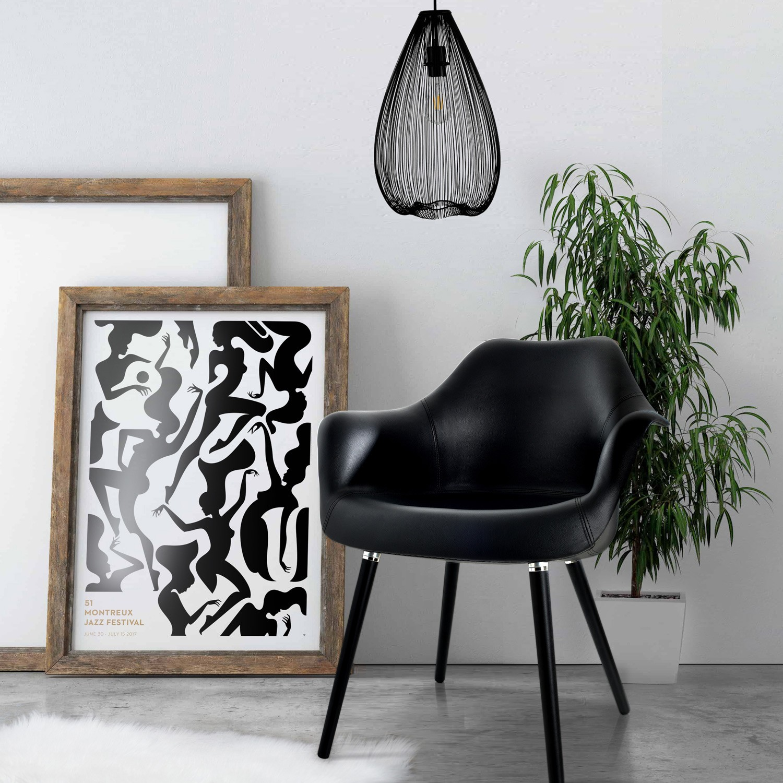 acheter chaise noire en cuir synthetique confortable