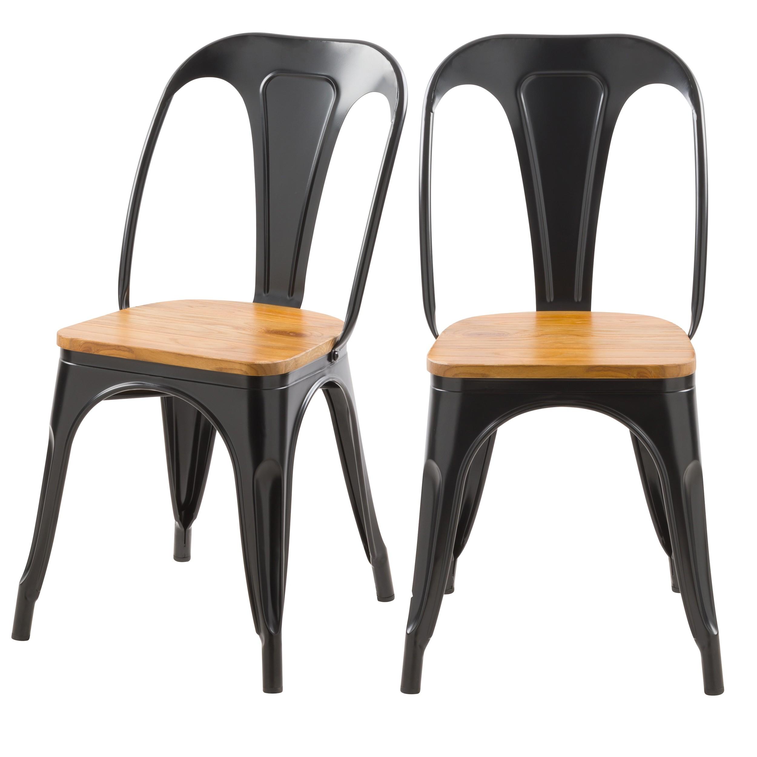 acheter chaise noire en metal et bois
