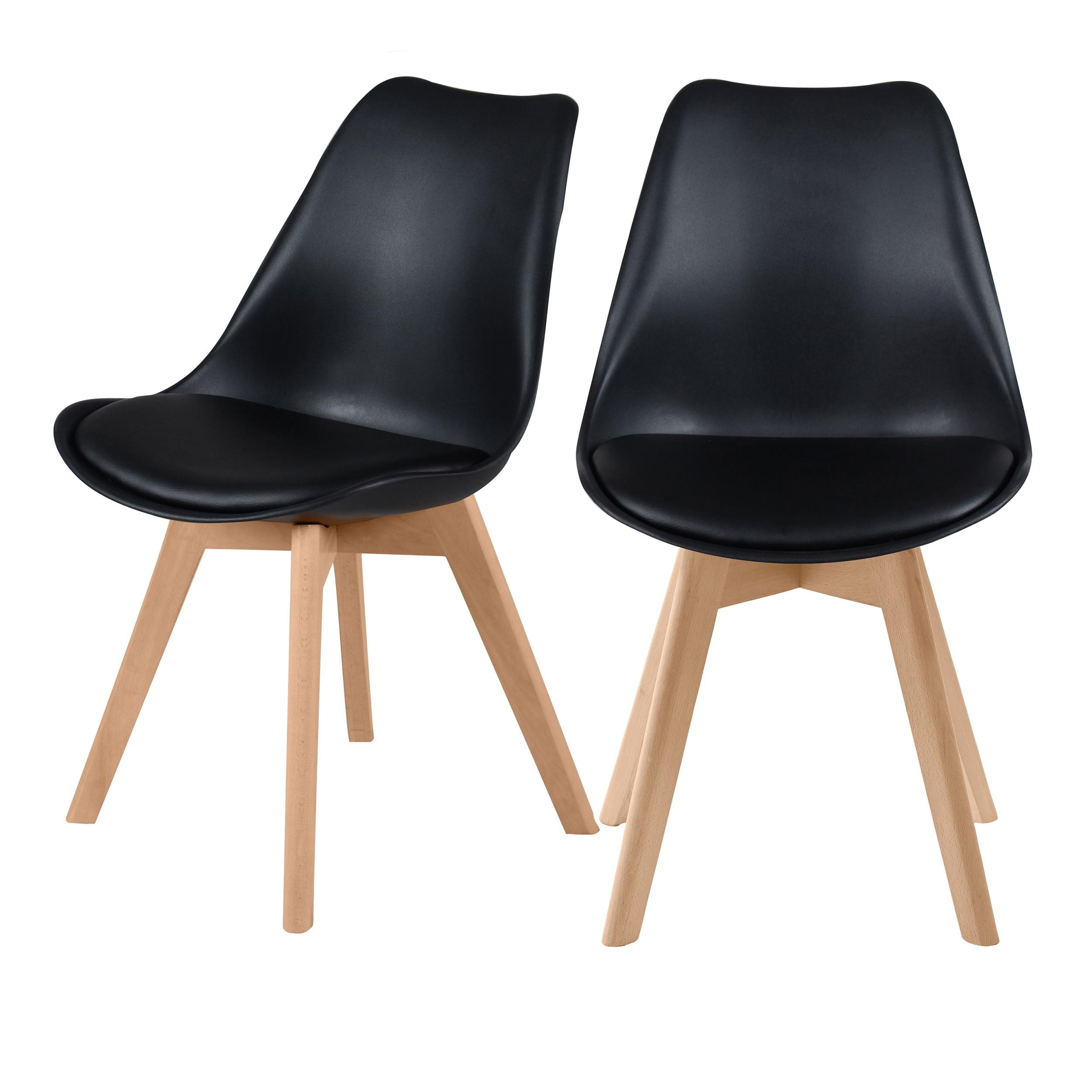 achat chaise skandi noire lot de deux