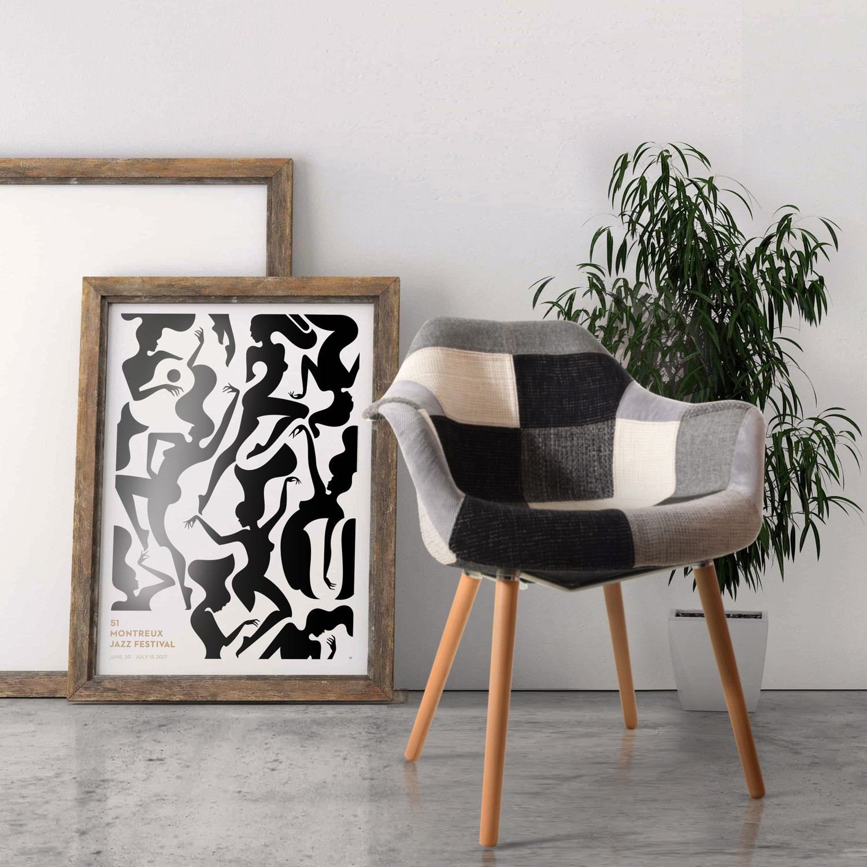 acheter chaise patchwork noire et blanche et grise
