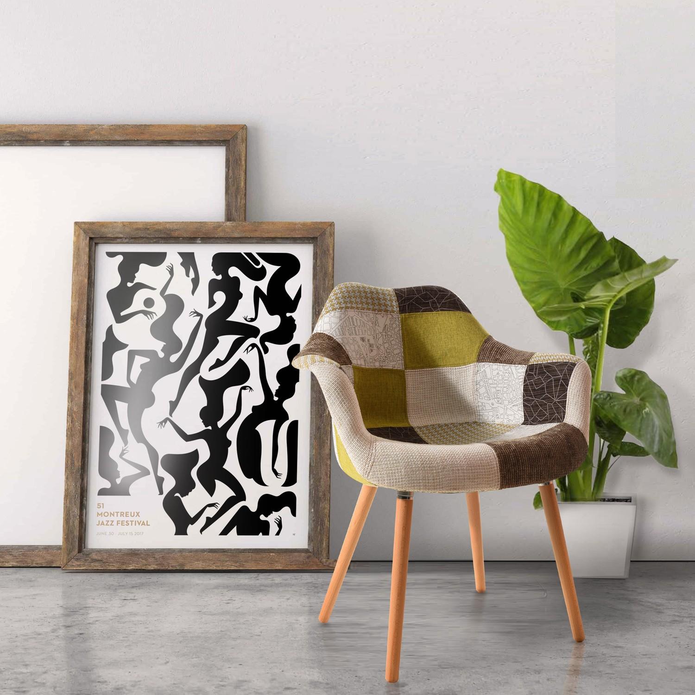 acheter chaise patchwork verte design