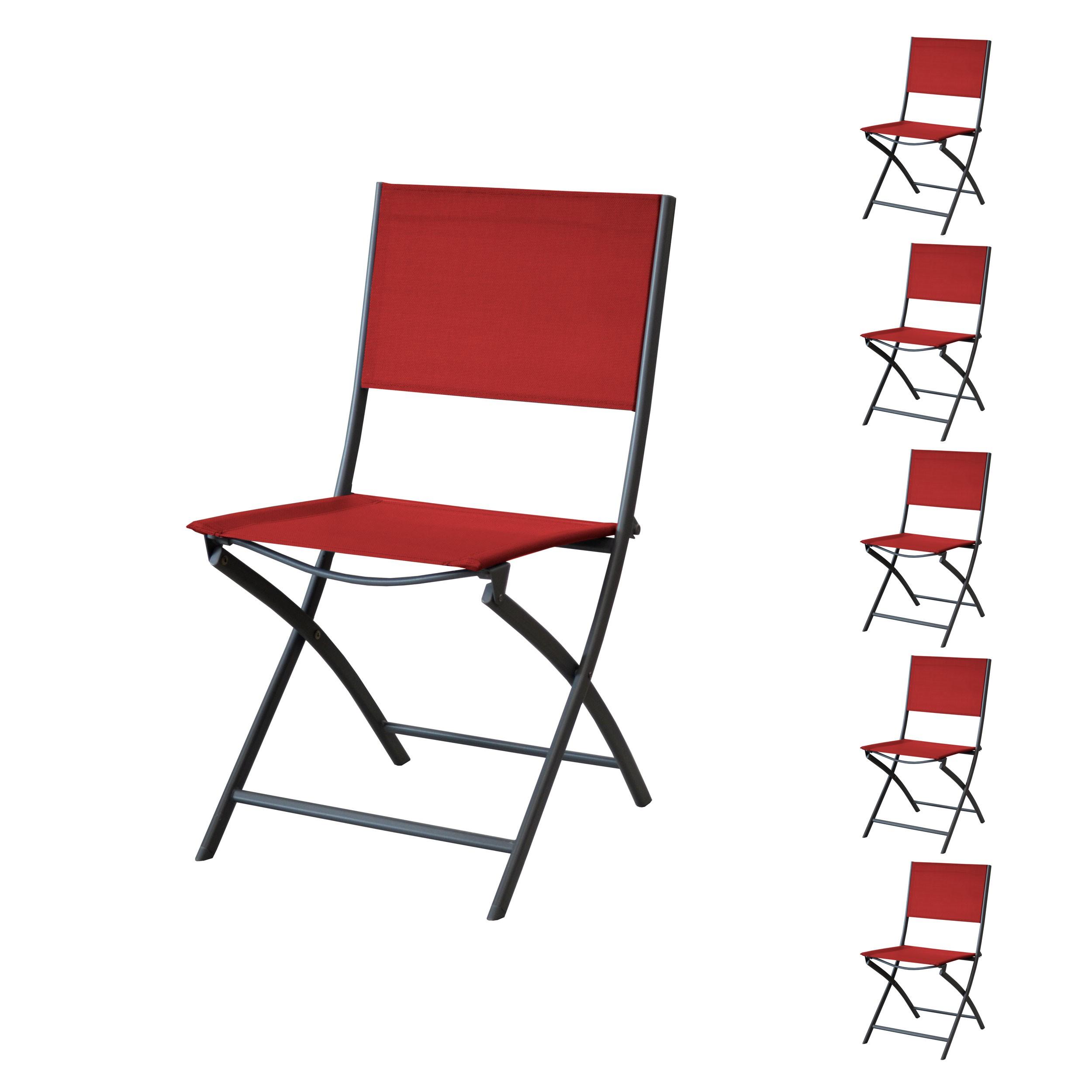 chaise de jardin santos pliable rouge lot de 6. Black Bedroom Furniture Sets. Home Design Ideas
