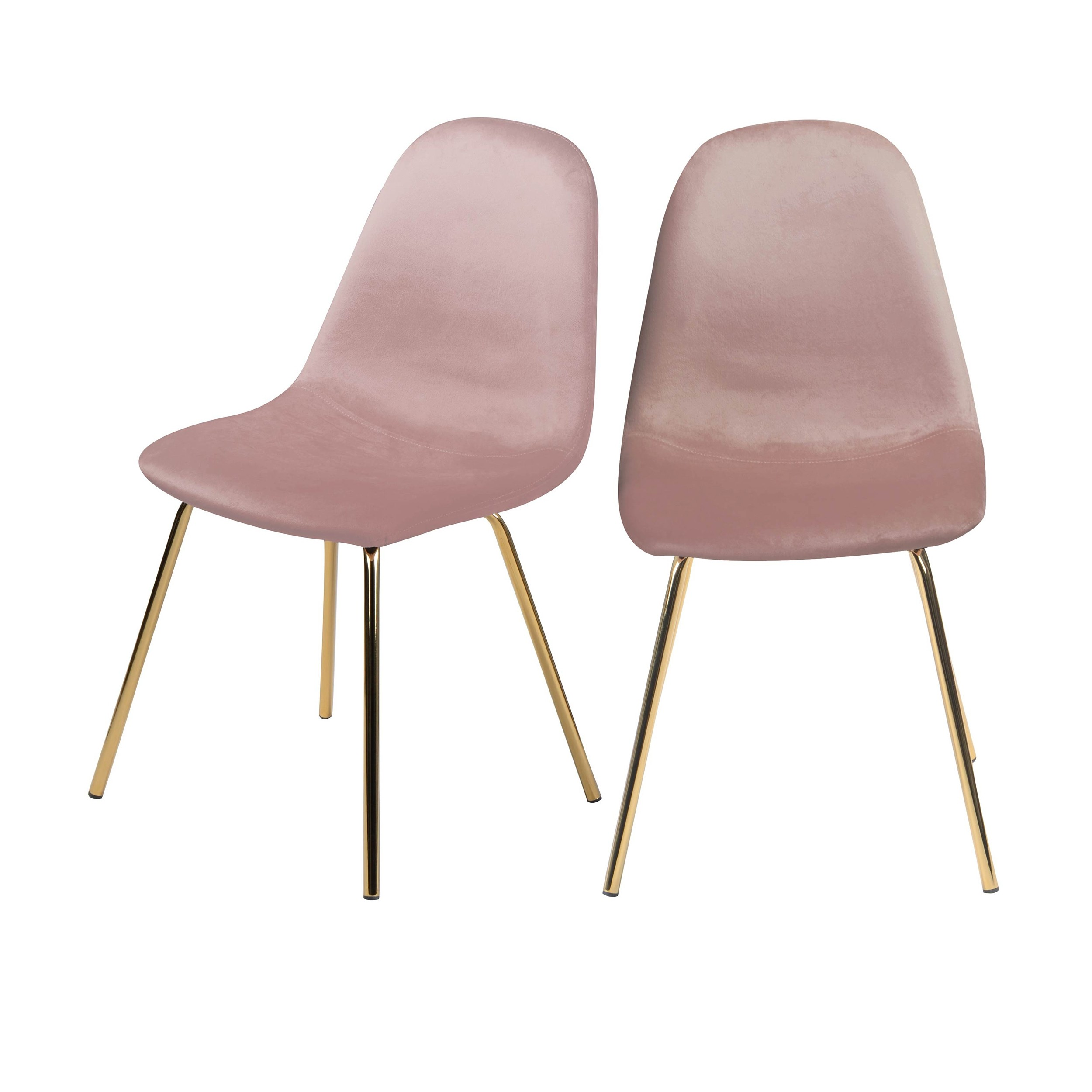 acheter chaise rose velours pieds laiton lot de 2