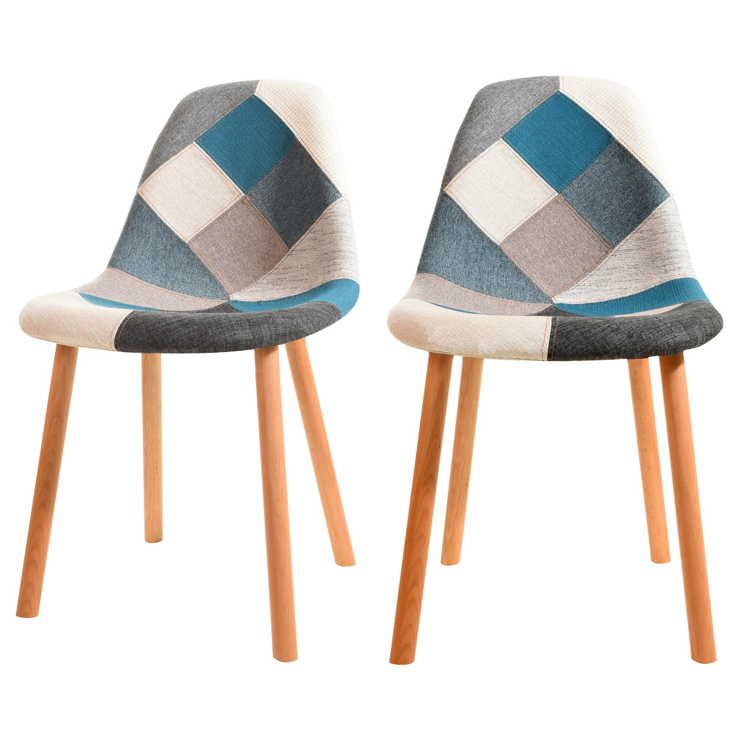 acheter chaise scandi bleu design lot de 2