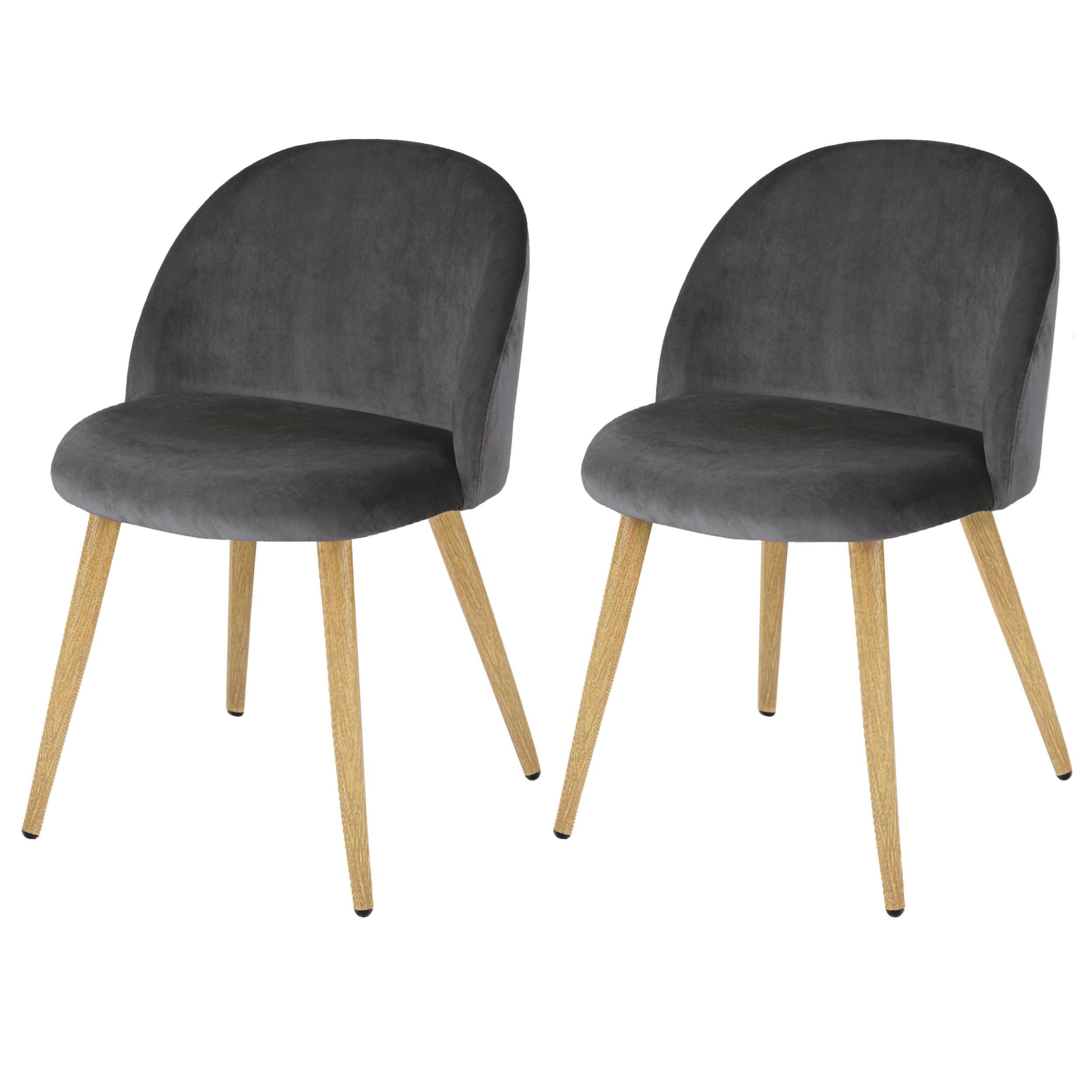 acheter chaise en velours grise lot de 2