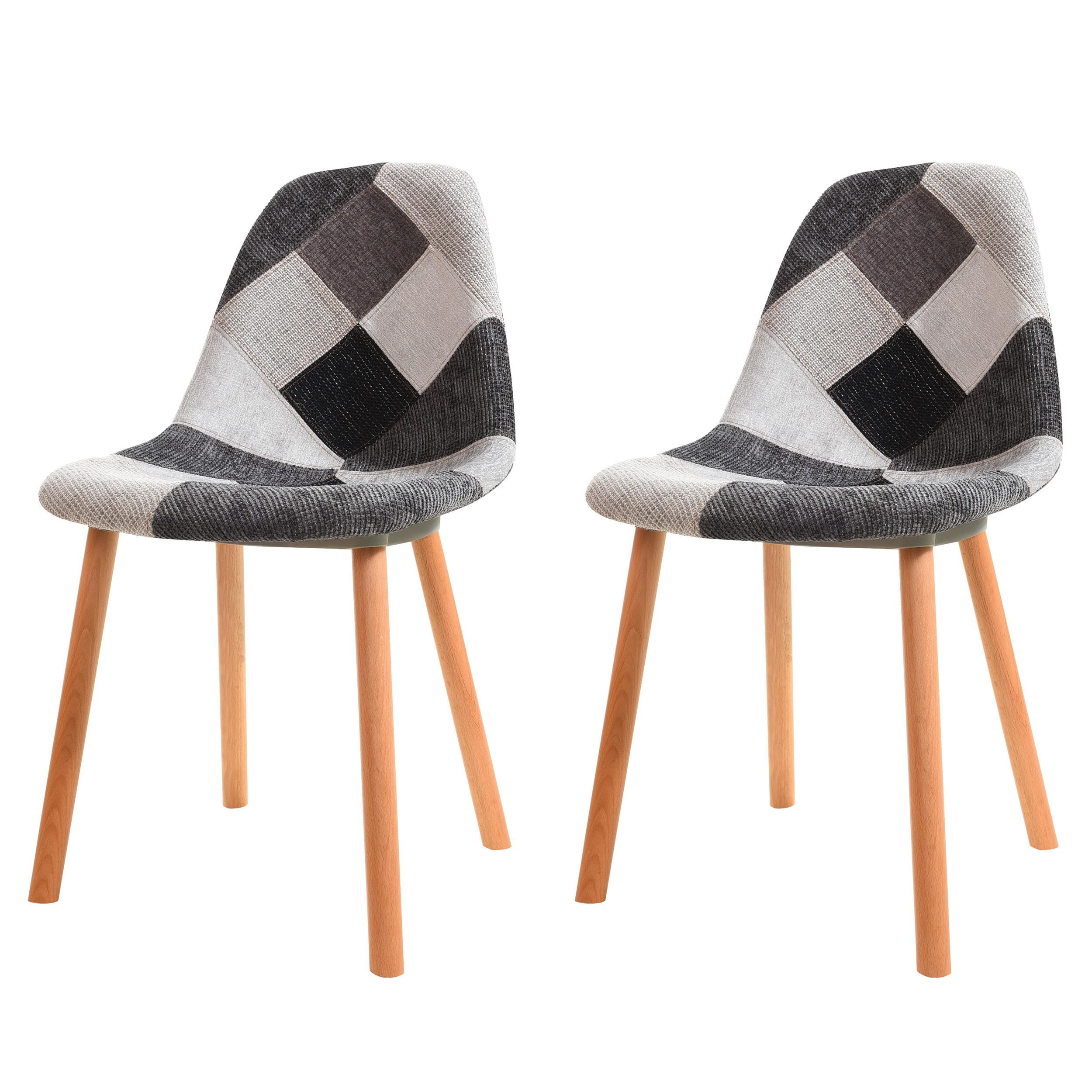 chaise arctik patchwork grise lot de 2 choisissez nos. Black Bedroom Furniture Sets. Home Design Ideas