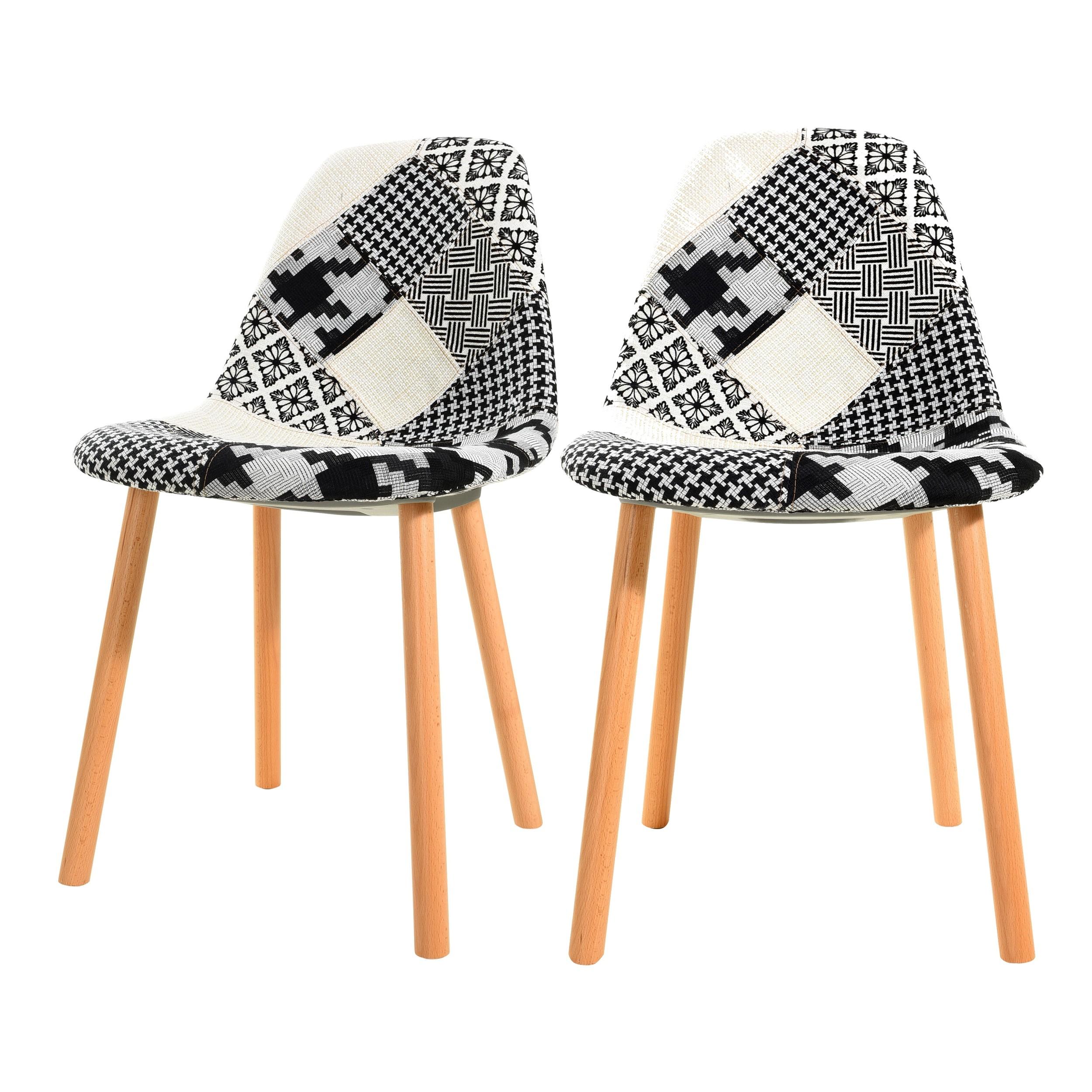 Chaise Arctik Patchwork noire et blanche (lot de 2)