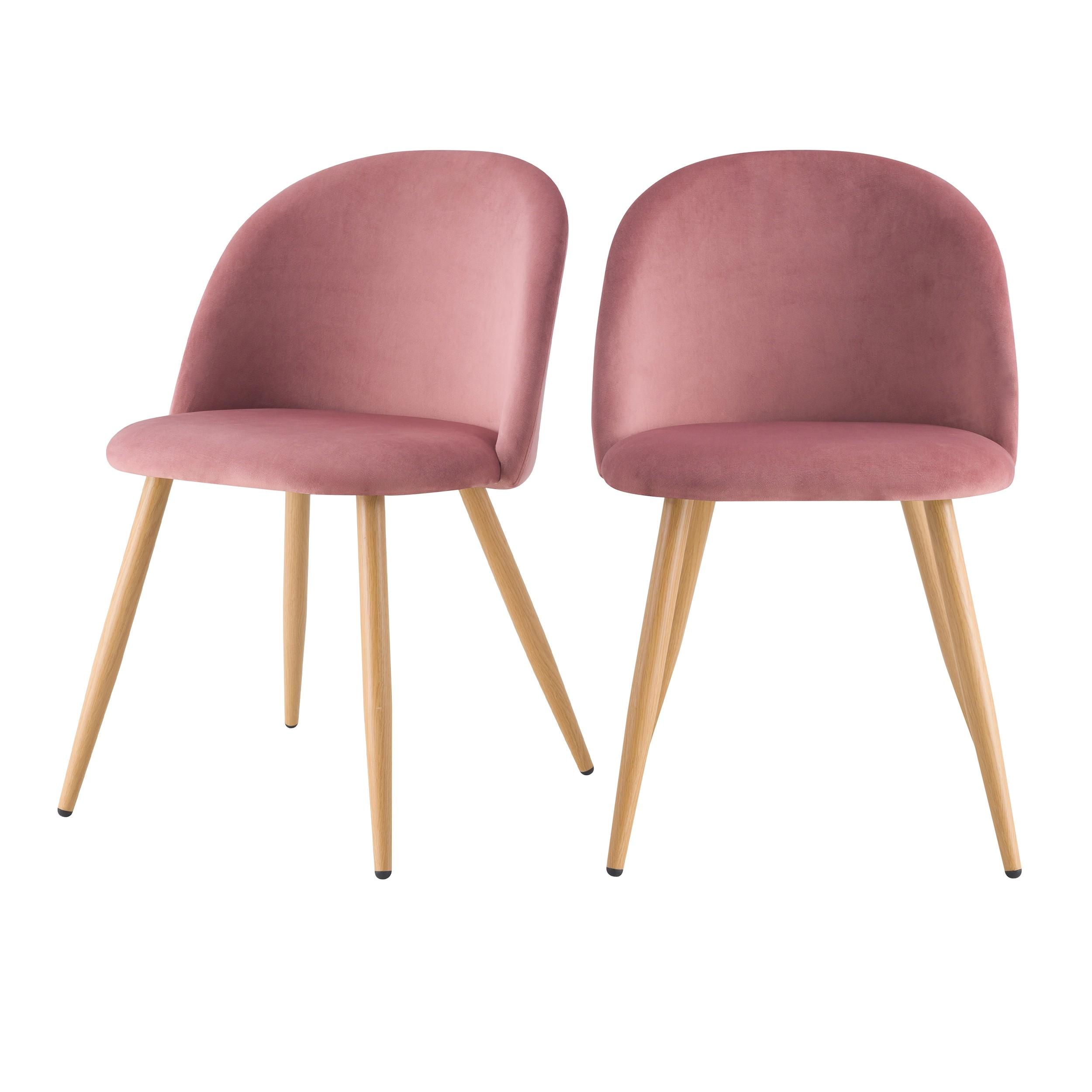 acheter chaise scandinave rose velours lot de 2