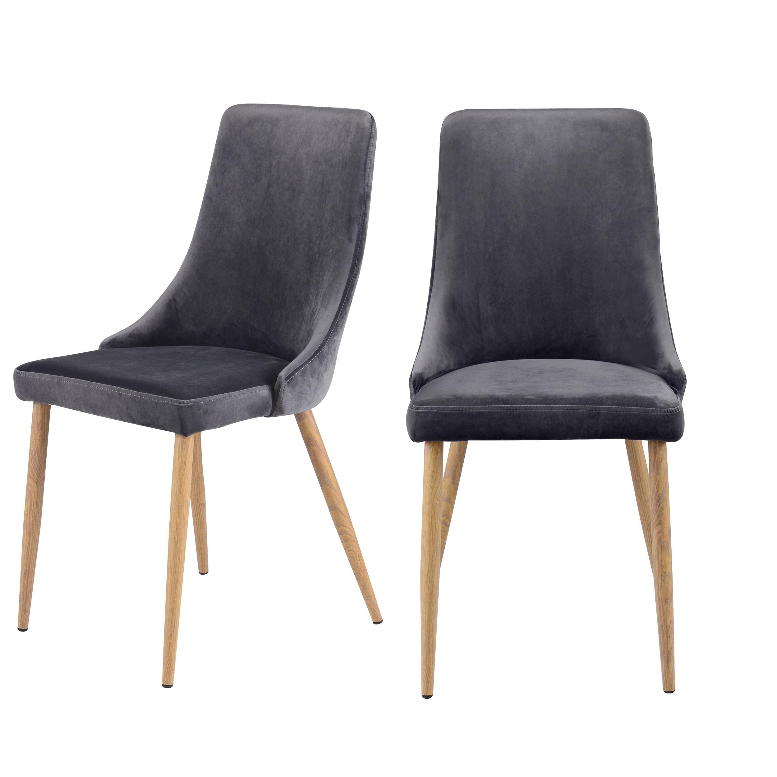 acheter chaise velours gris lot de 2