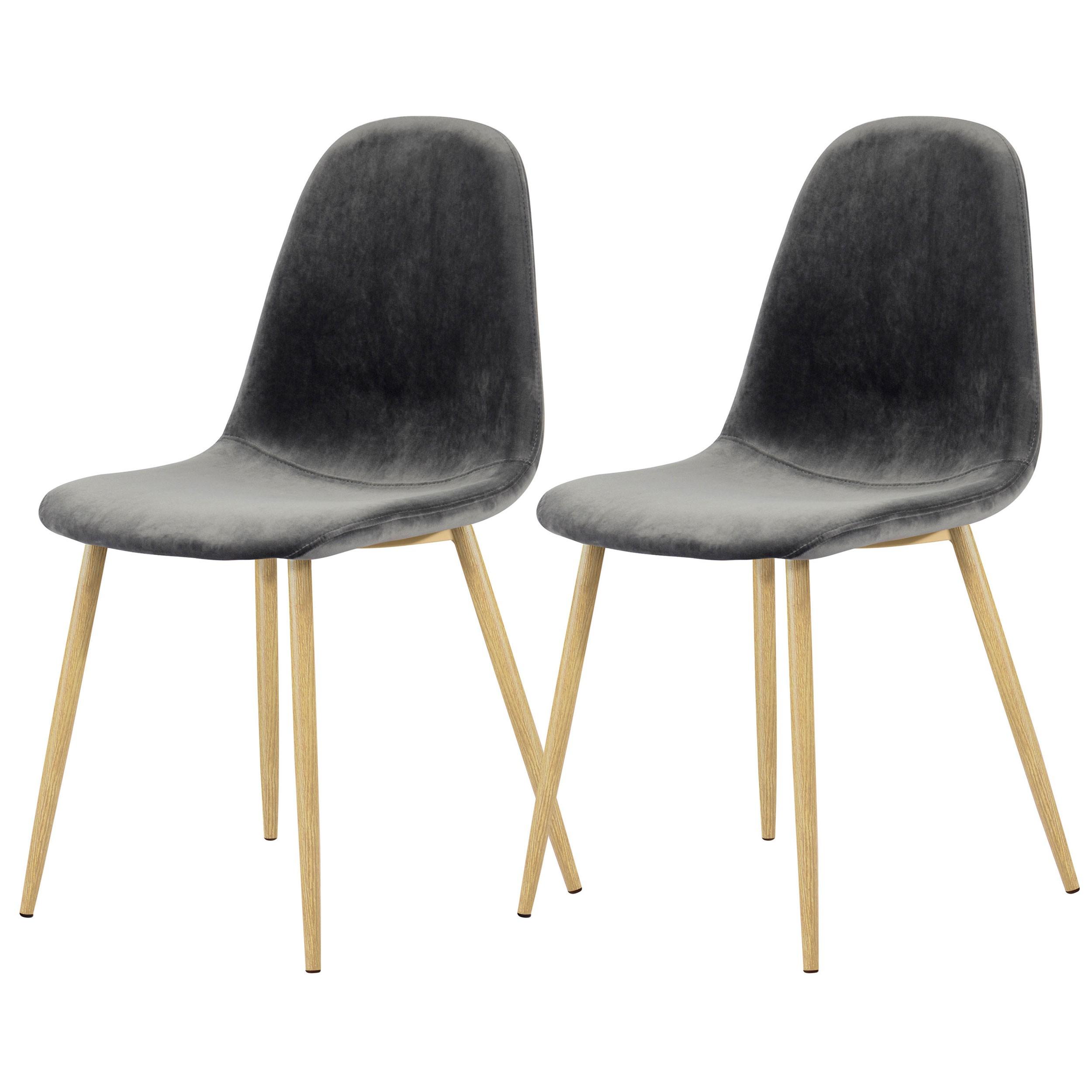 chaise fredrik en velours gris lot de 2 adoptez les. Black Bedroom Furniture Sets. Home Design Ideas