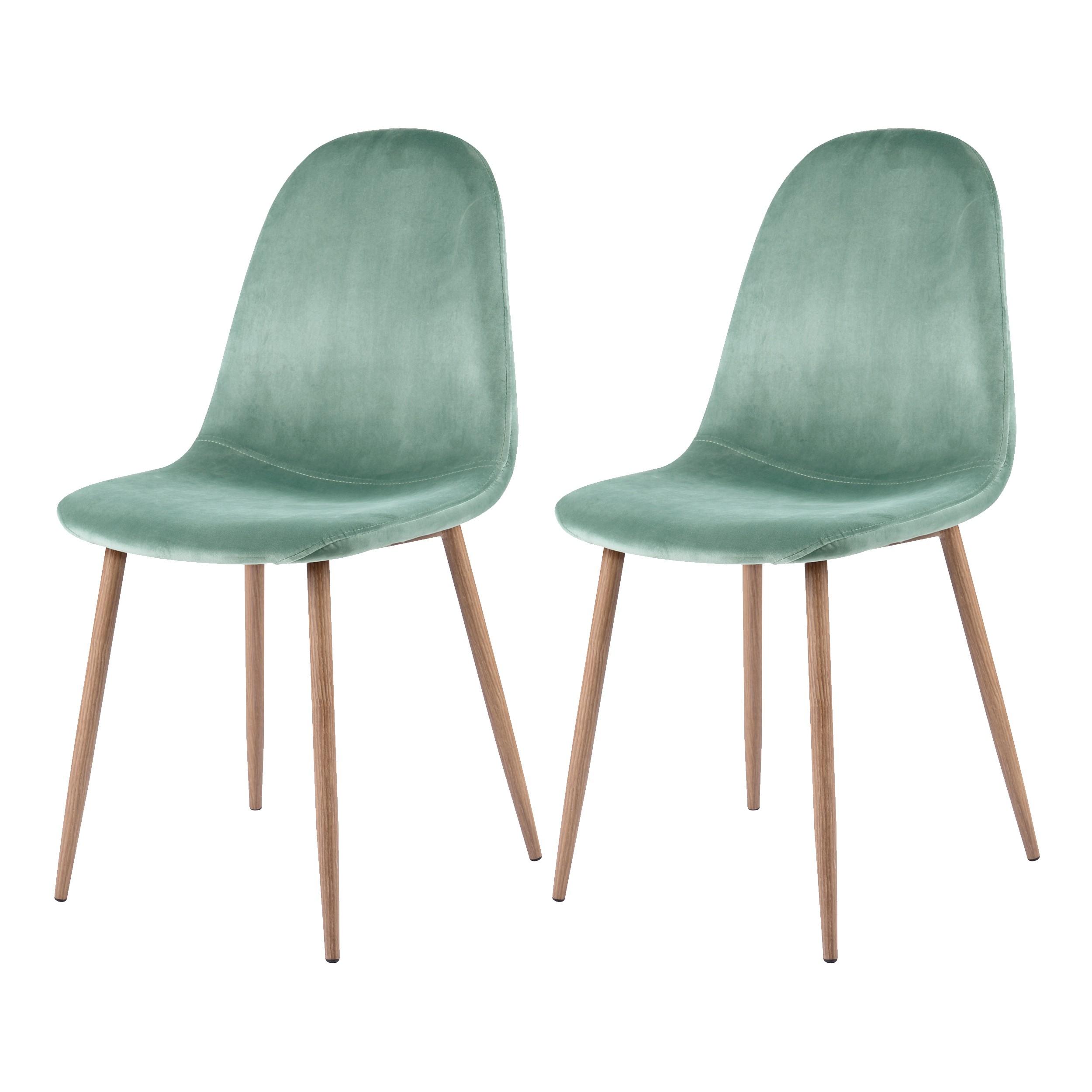 chaise fredrik en velours vert d 39 eau lot de 2. Black Bedroom Furniture Sets. Home Design Ideas