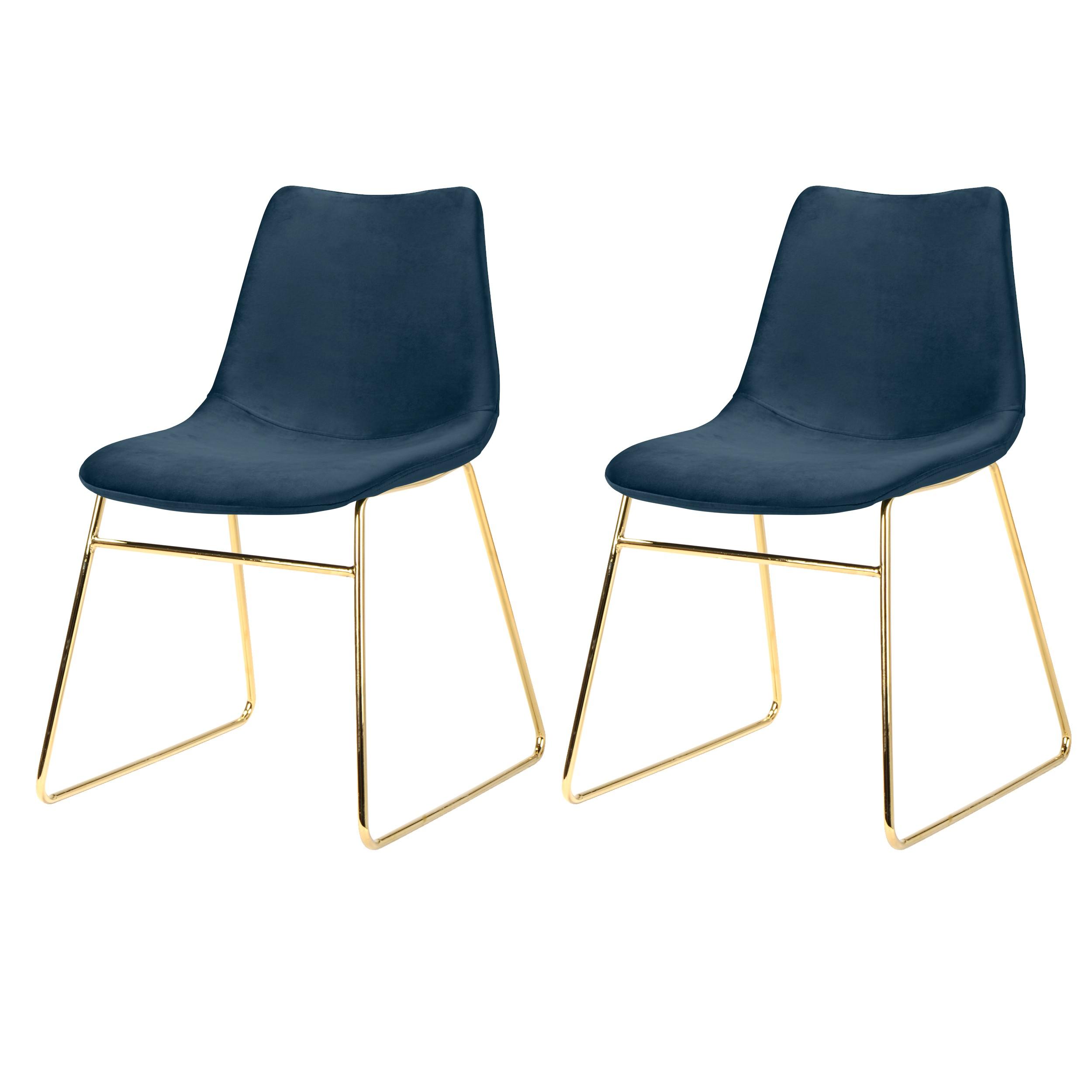 acheter chaise velours bleu fonce pieds dores