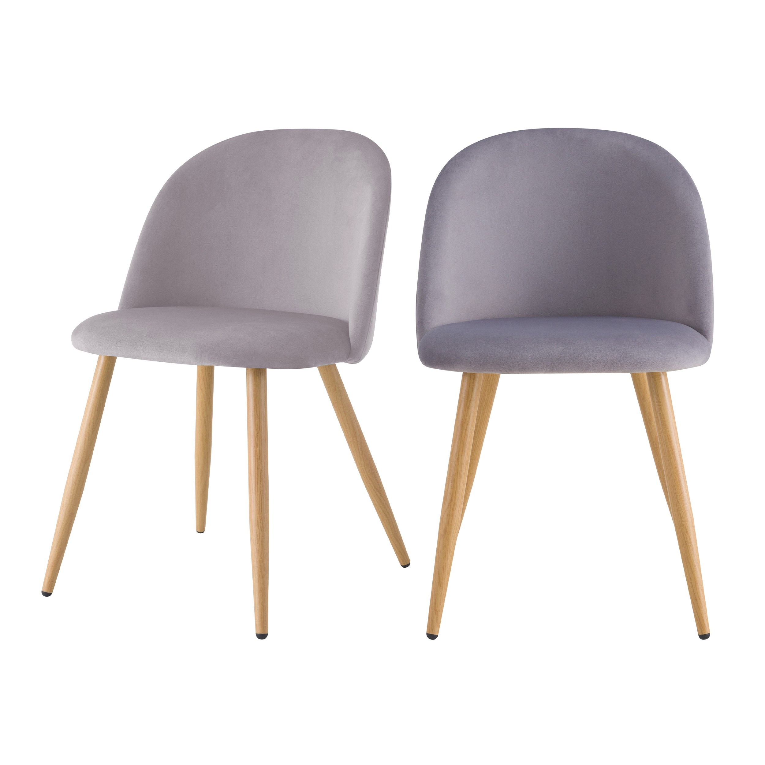 acheter chaise velours gris scandinave lot de 2