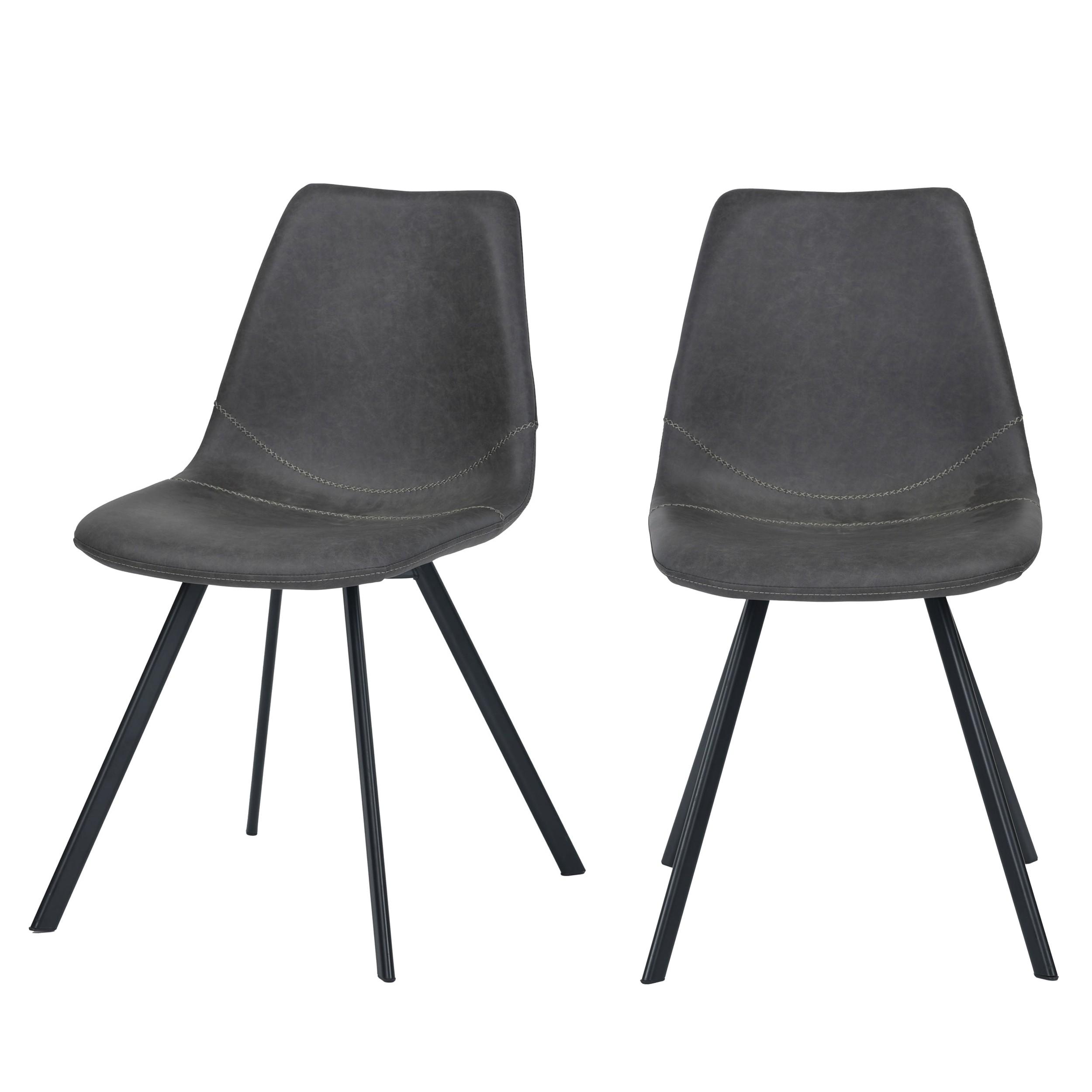 acheter chaise vintage grise lot de 2
