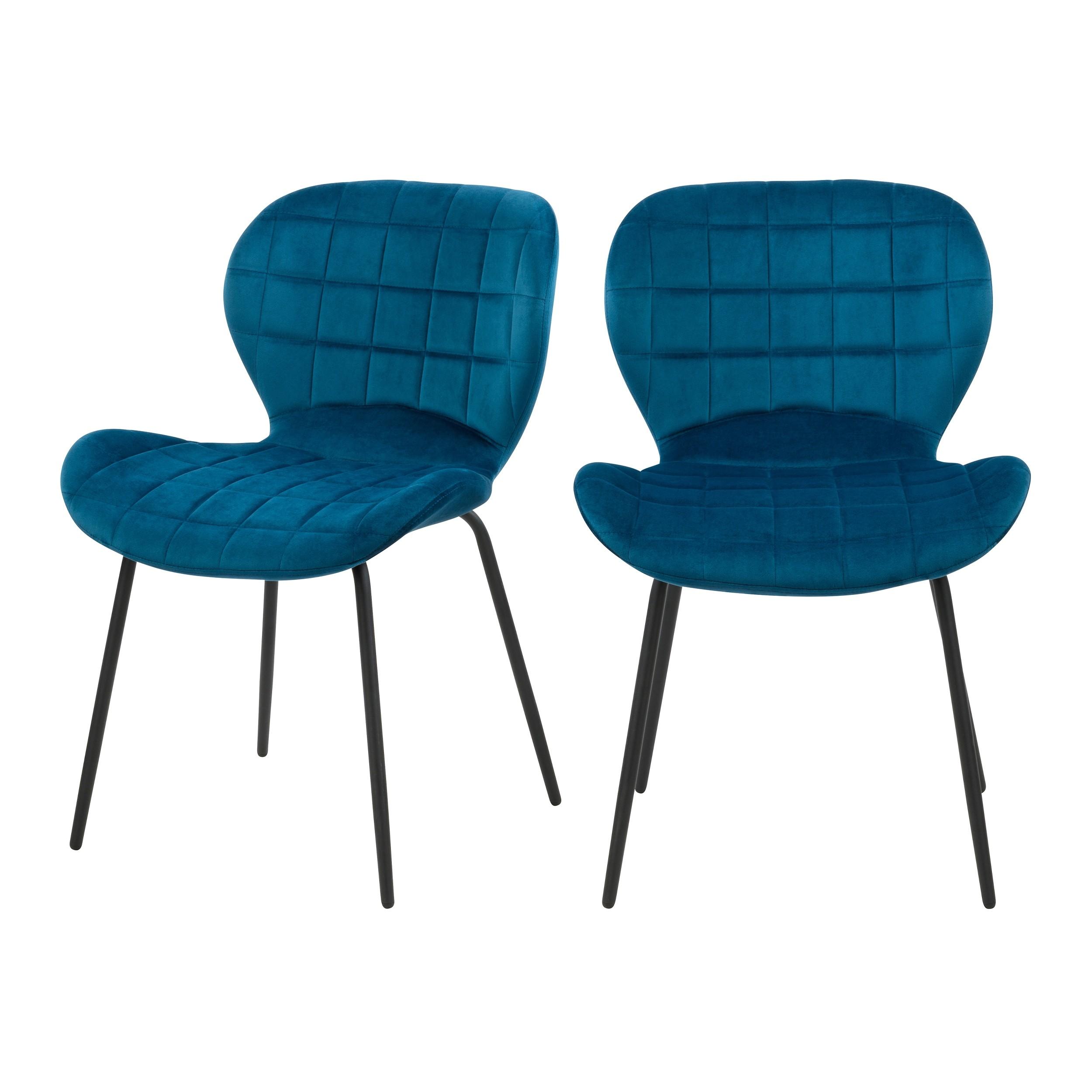 acheter chaises bleues en velours lot de 2
