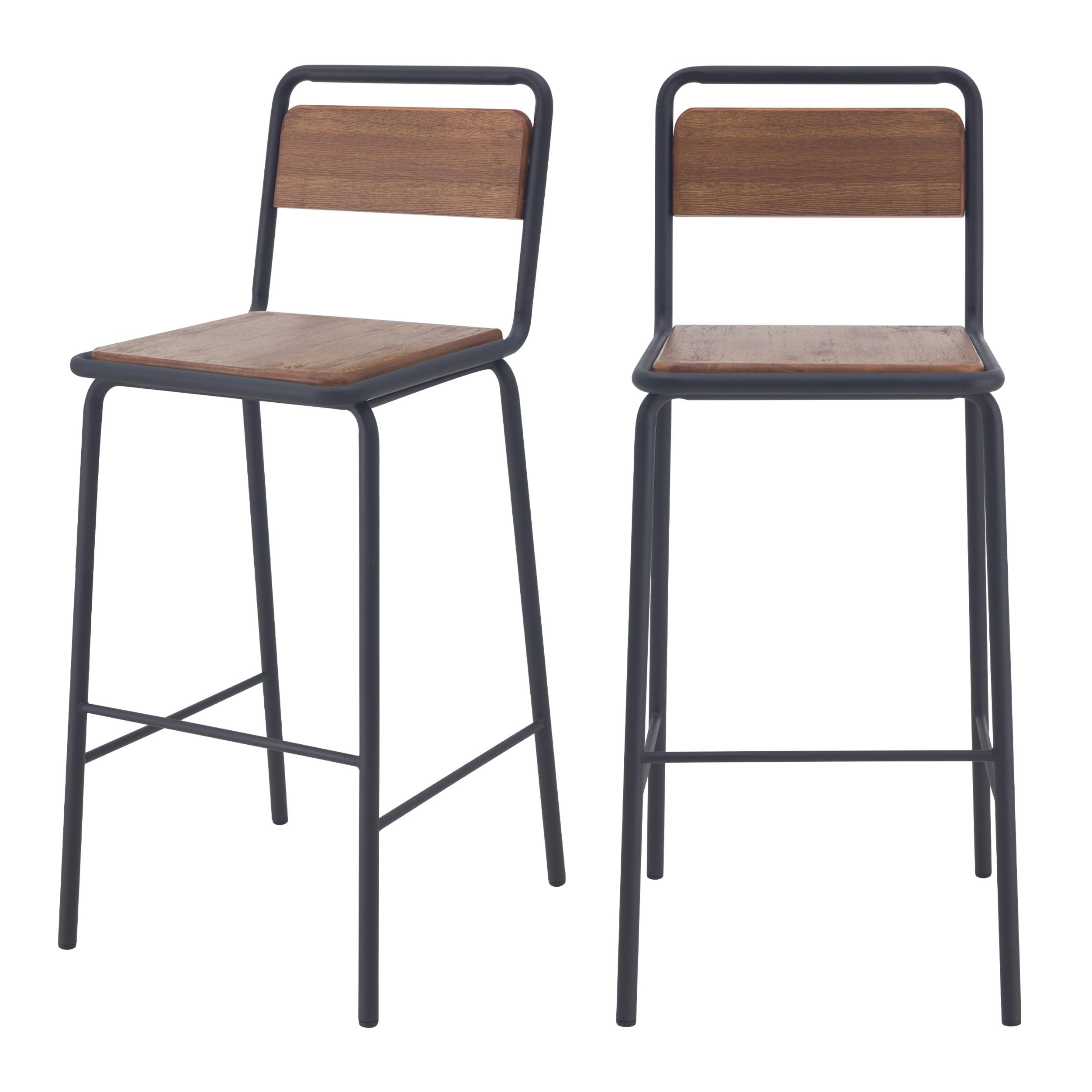 acheter chaises de bar ecolier bois lot de 2