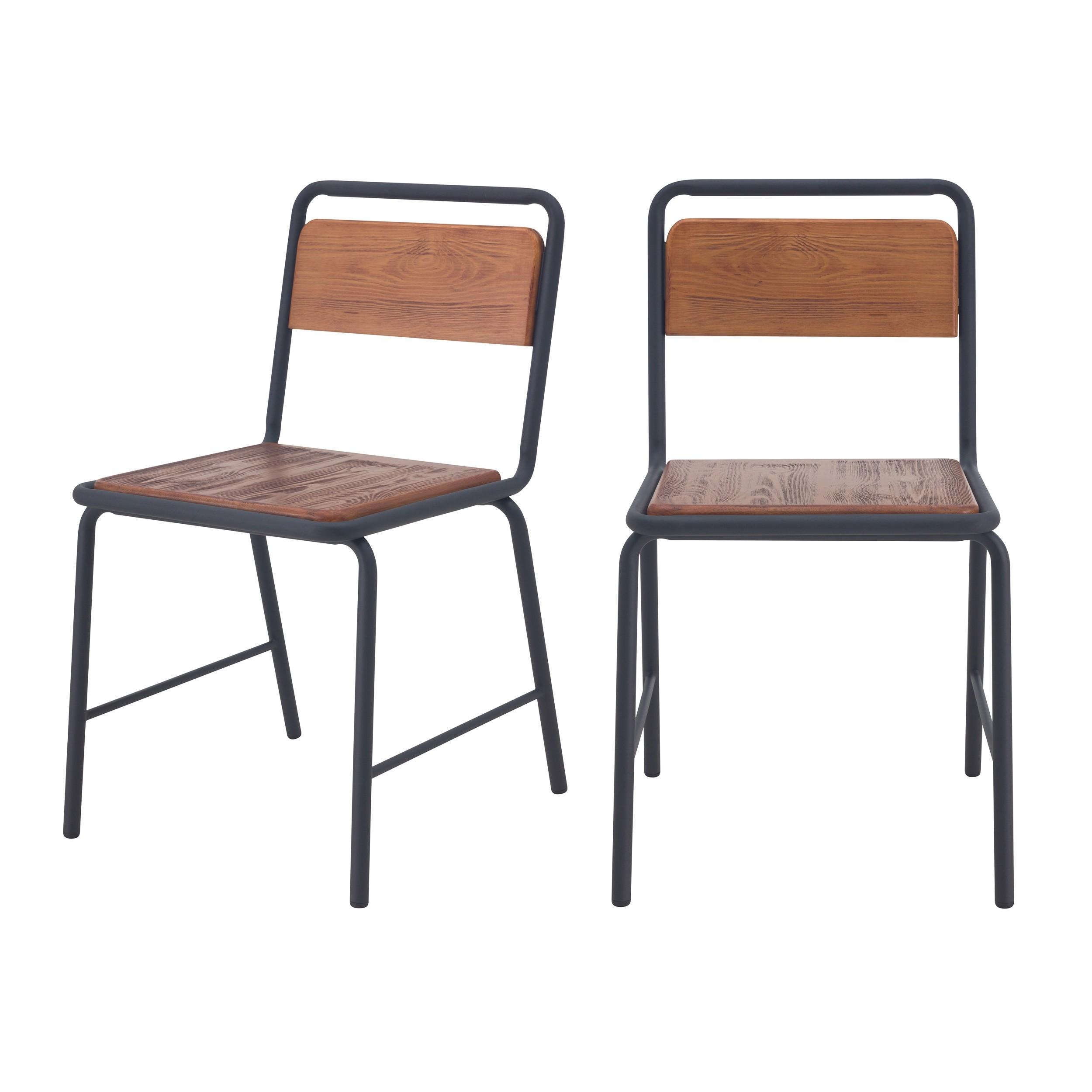 acheter chaises ecolier bois et metal lot de 2