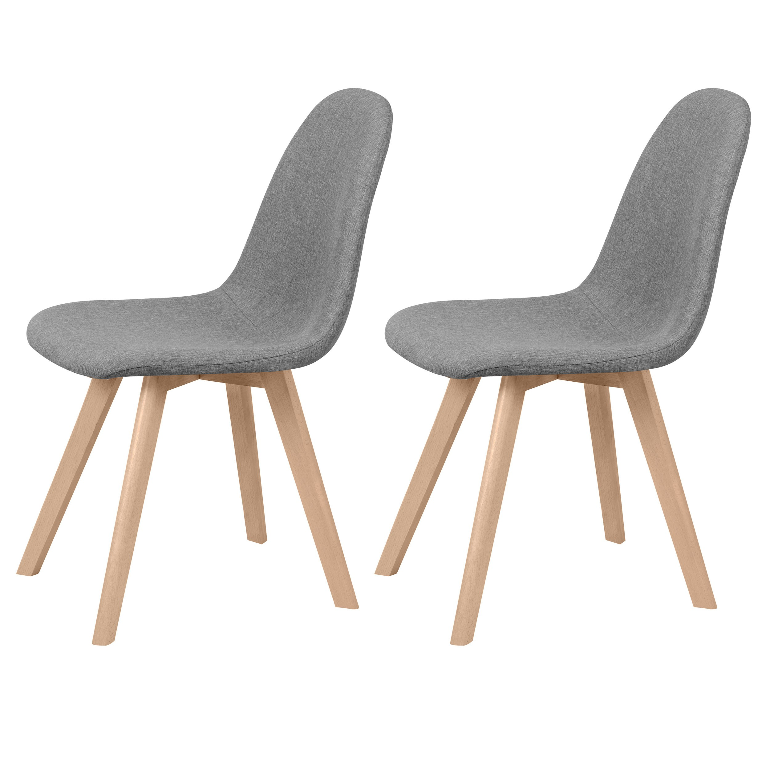 chaise scandinave tissu gris clair