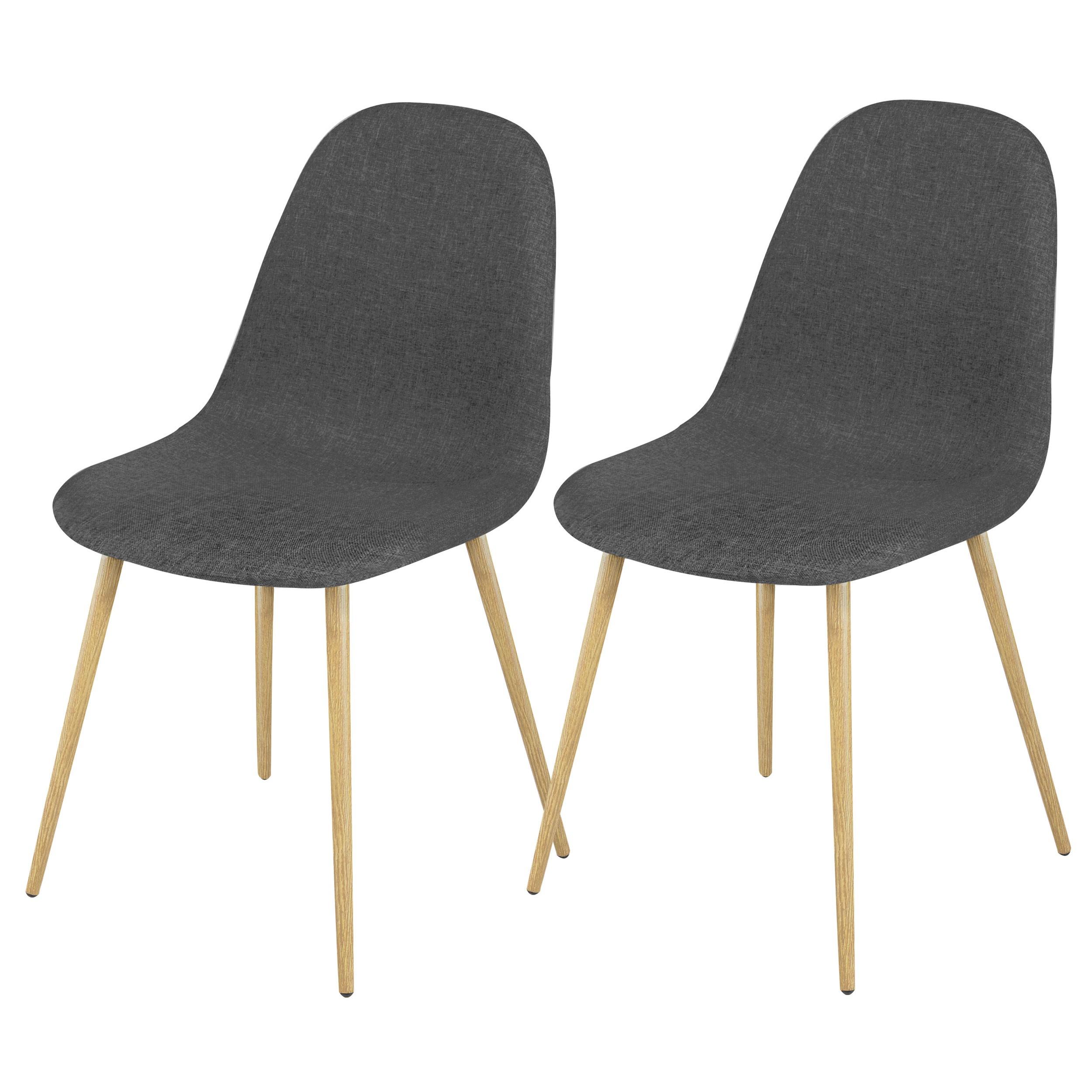 achat chaise grise lot de 2