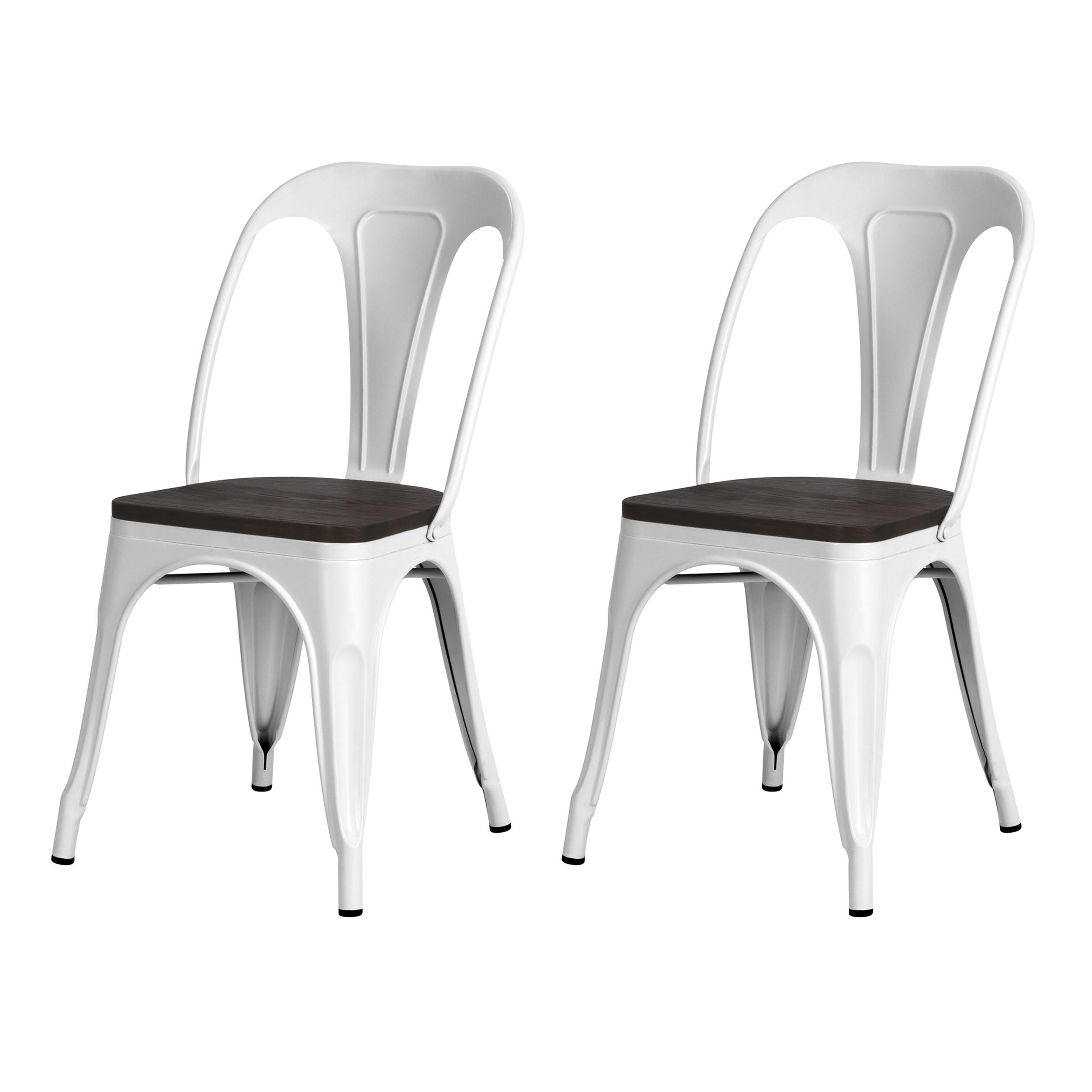 acheter chaises lot de 2 industrielles blanches