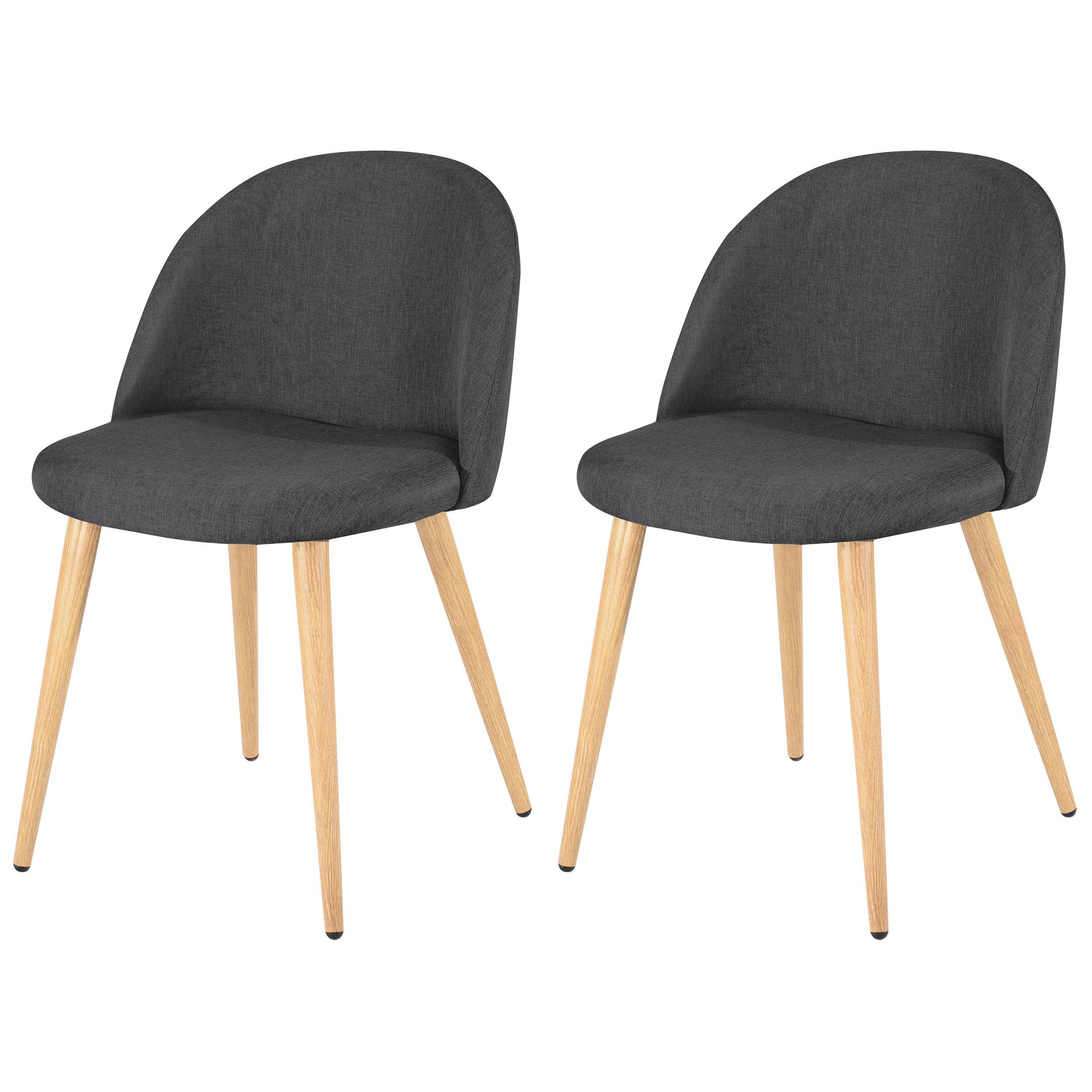achat lot de 2 chaises en tissu grises
