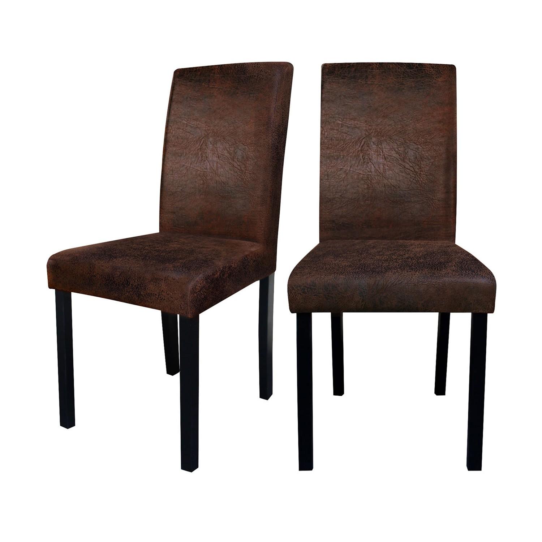 achat chaise marron vieilli prix mini lot de 2