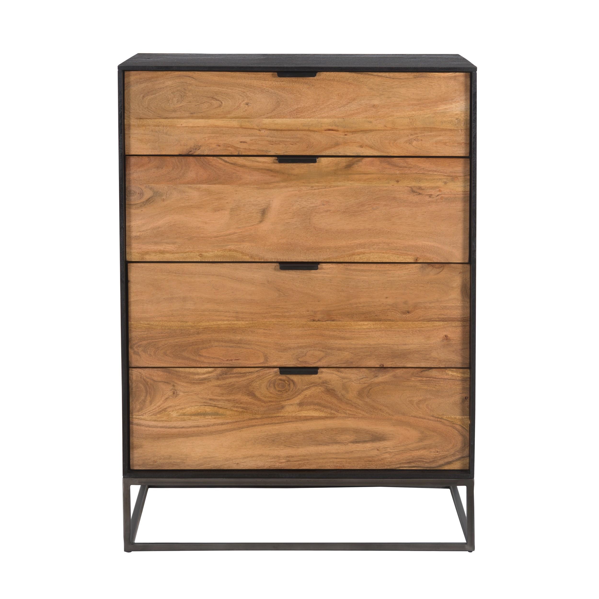acheter commode 4 tiroirs en bois et metal