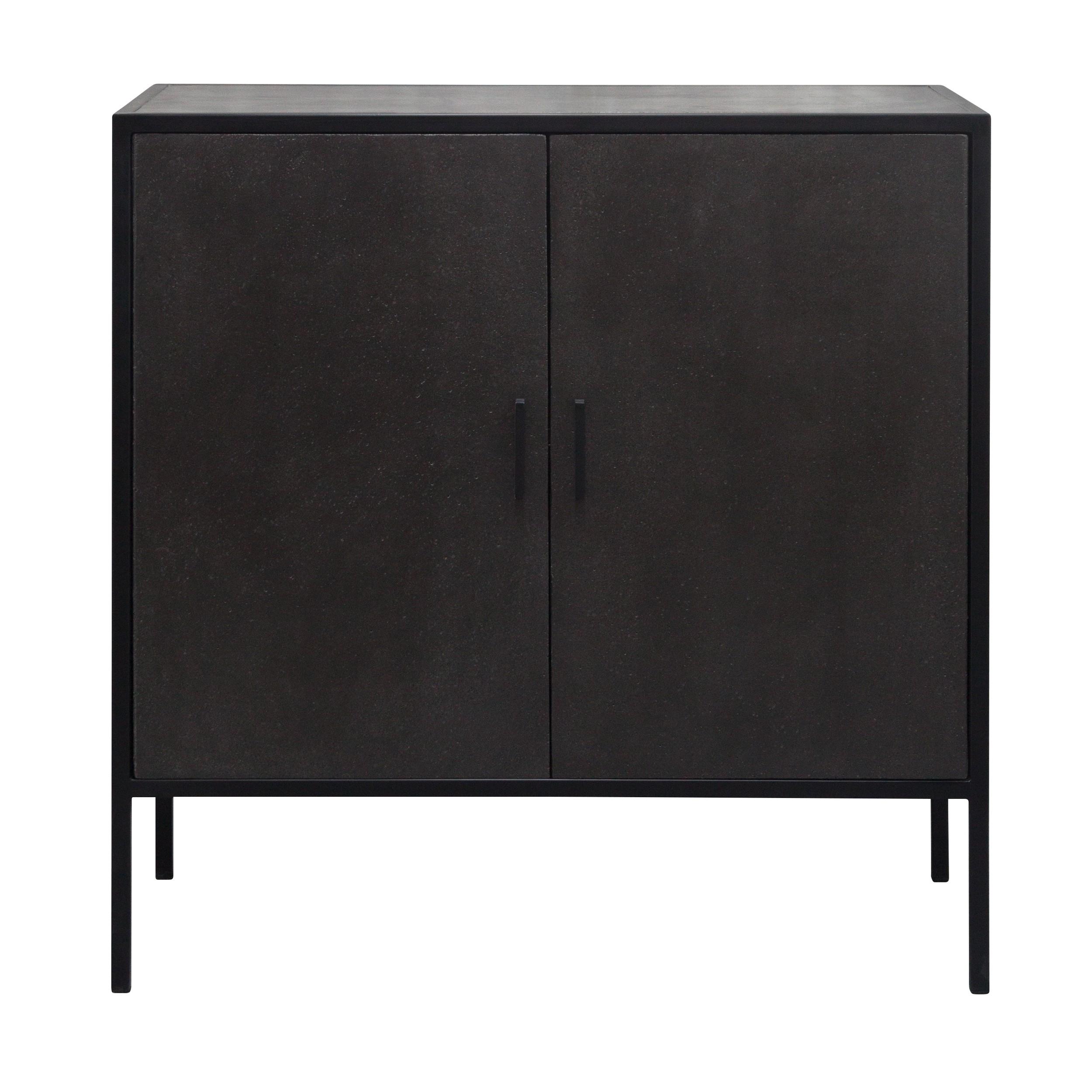 acheter commode en beton plaque et metal noir