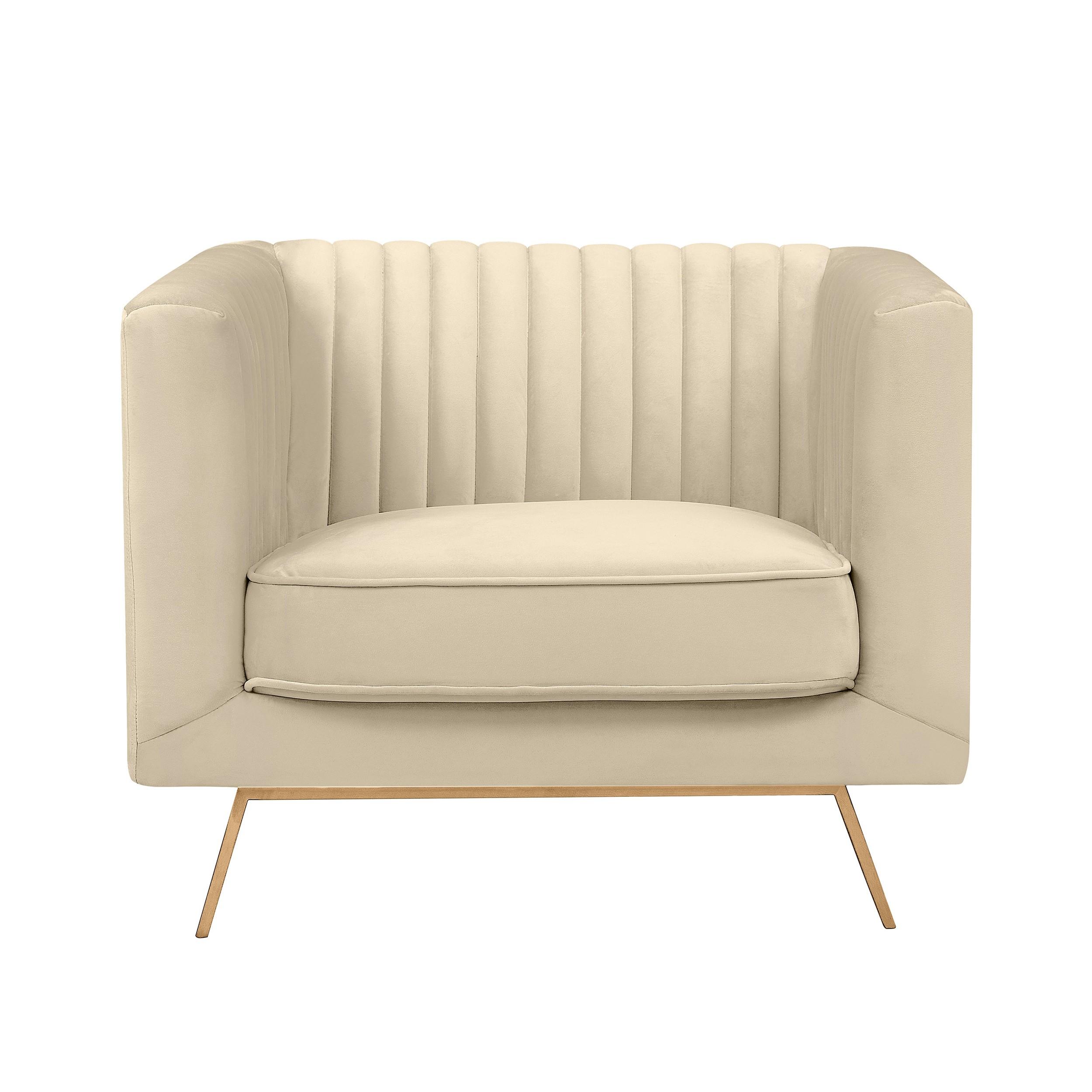 acheter fauteuil beige en velours