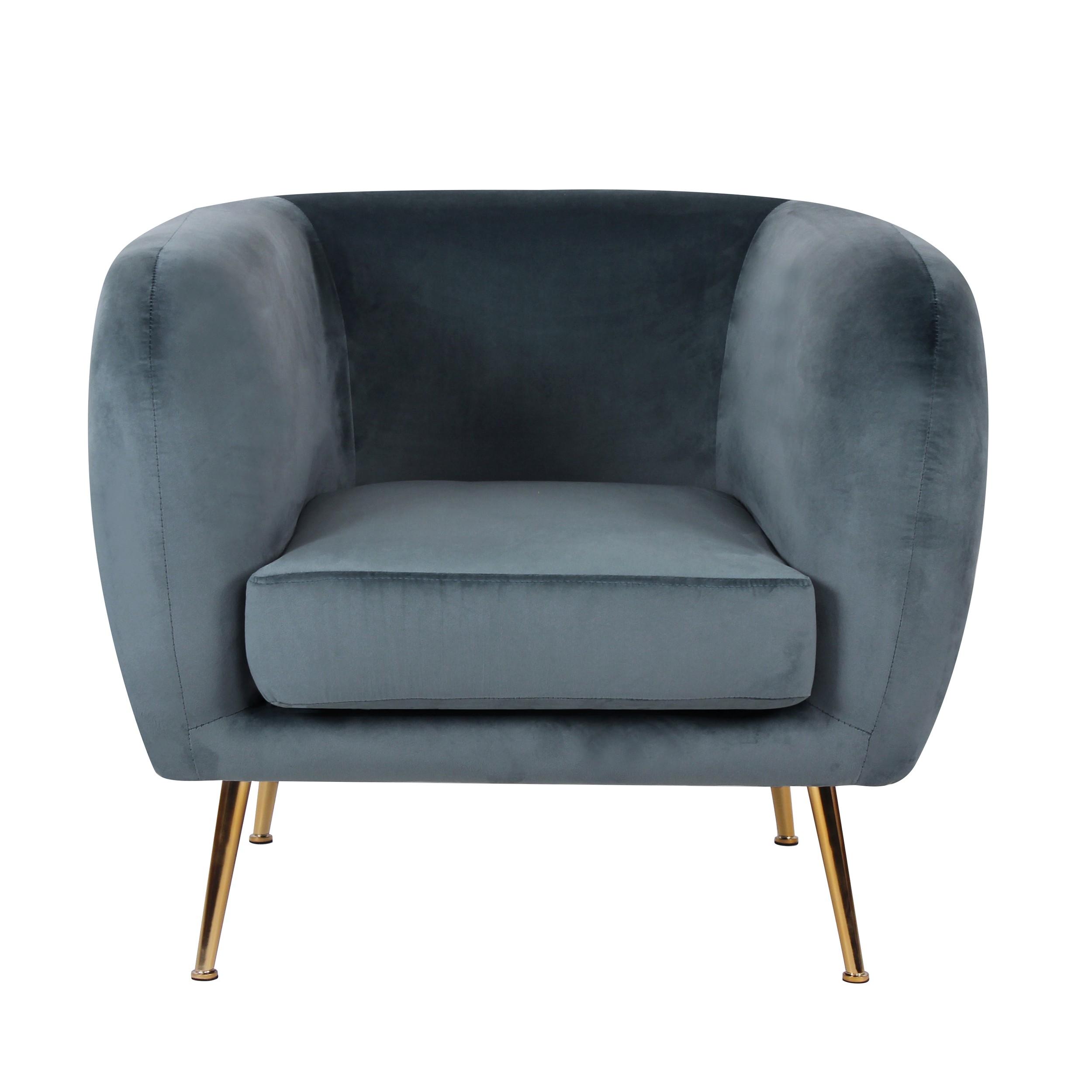 acheter fauteuil bleu en velours pieds metal dore