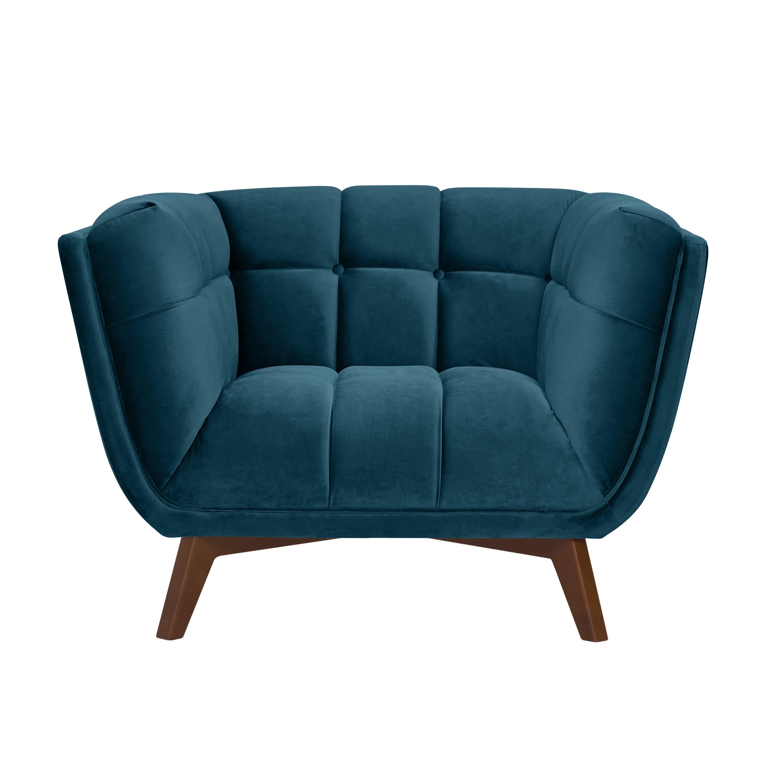 acheter fauteuil bleu fonce pieds bois fonce