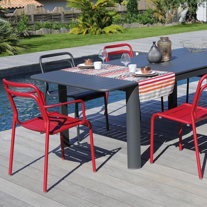 acheter fauteuil de repas exterieur rouge