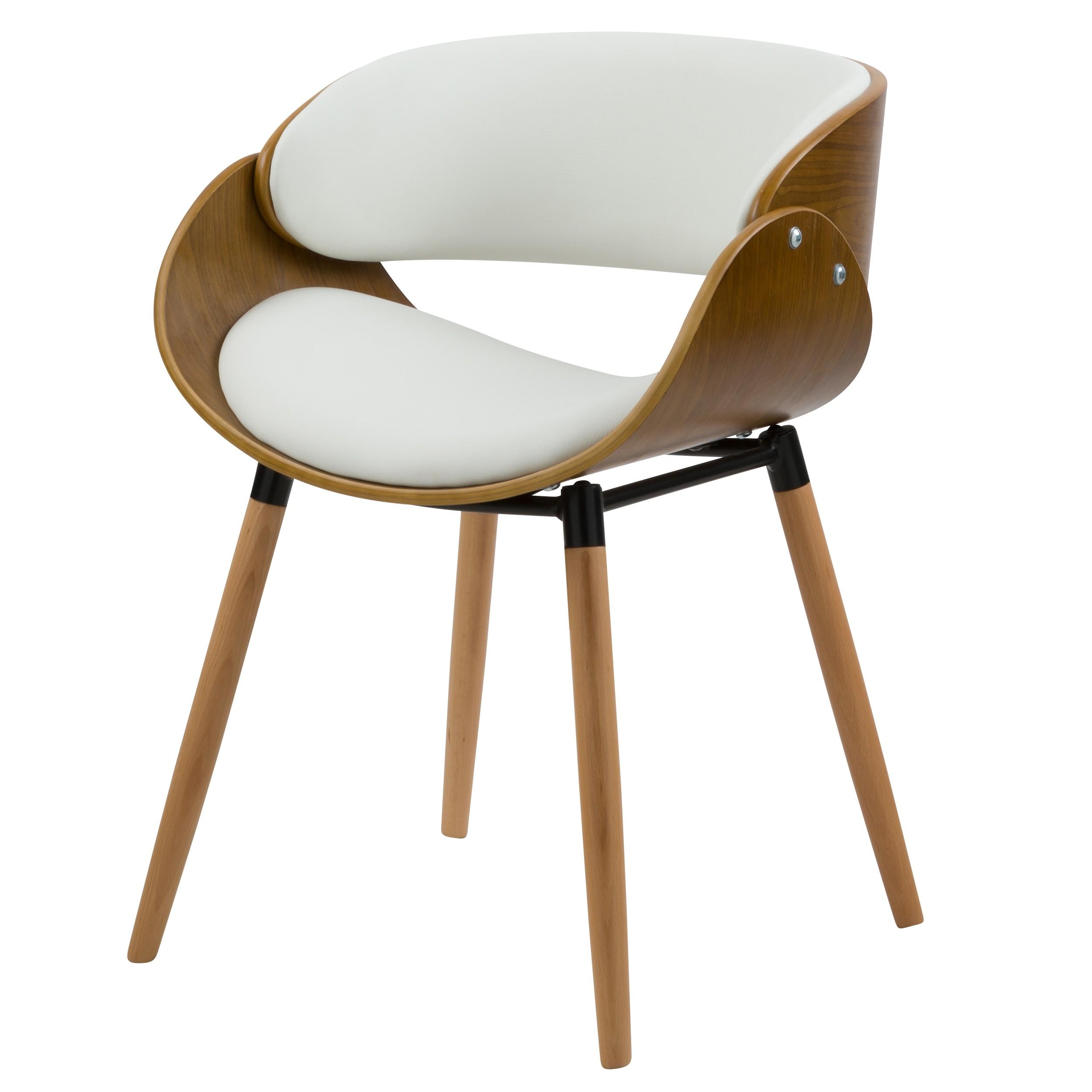 acheter fauteuil en bois et cuir synthetique blanc