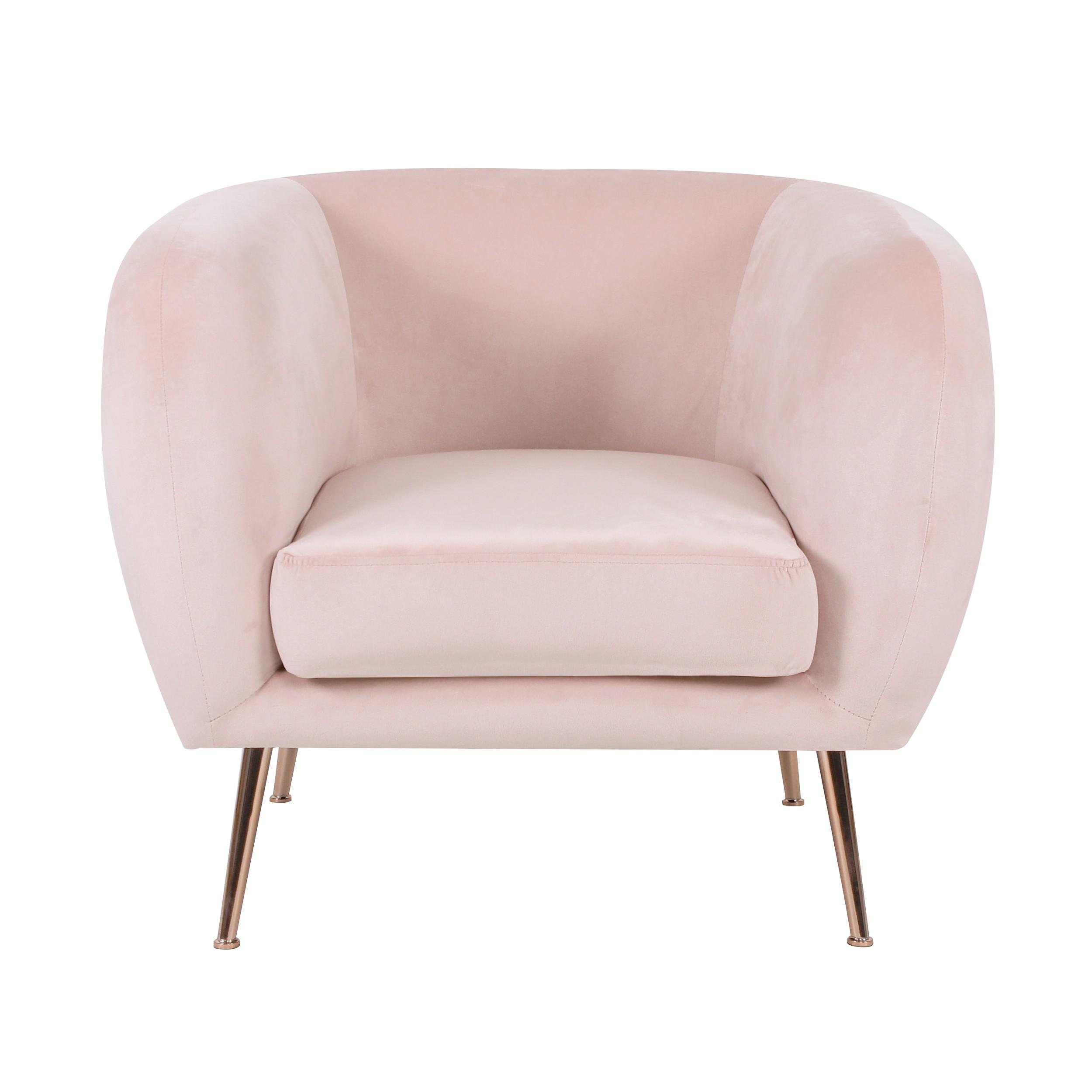 acheter fauteuil en velours rose clair