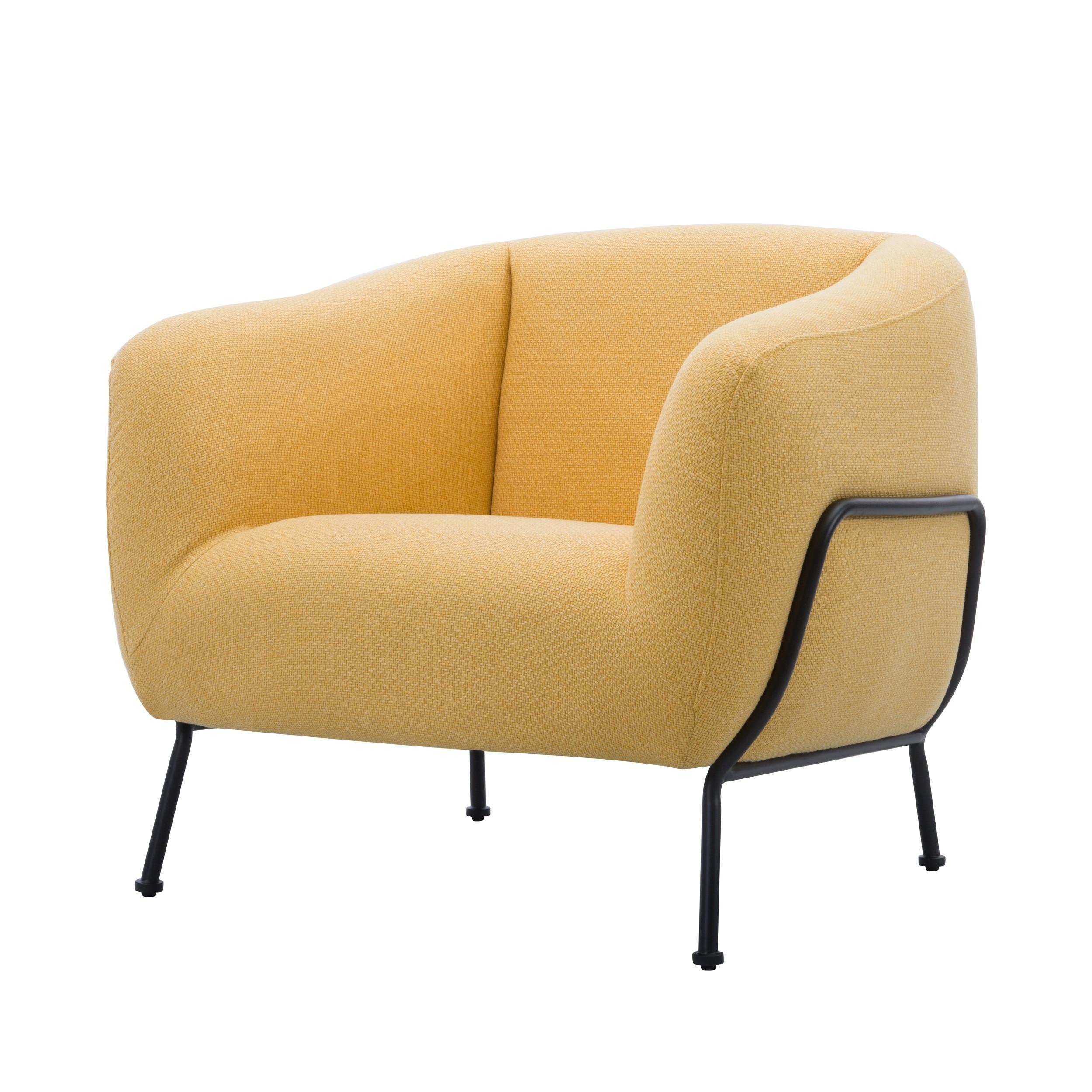 acheter fauteuil jaune en tissu pieds metal