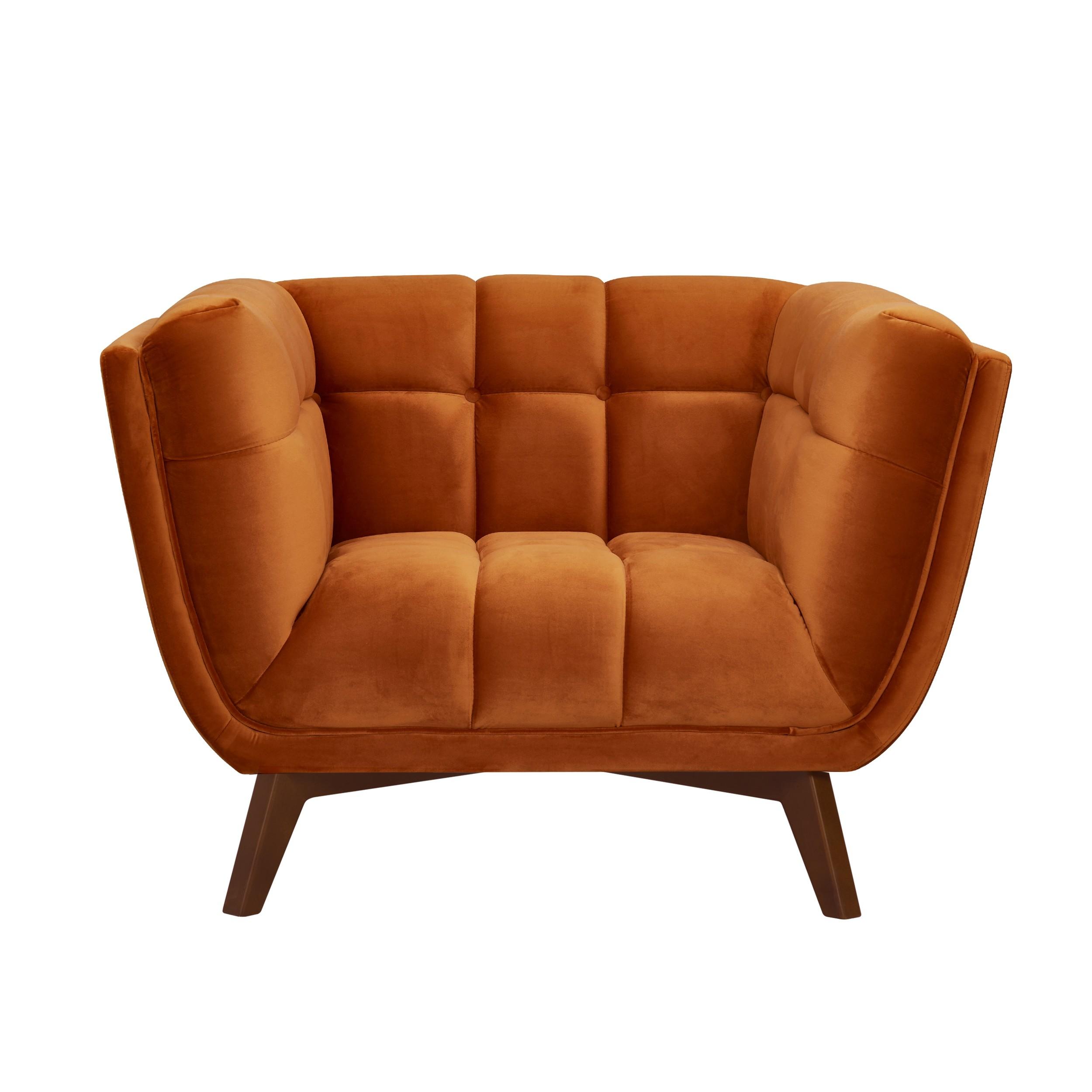 acheter fauteuil orange en velours pieds bois