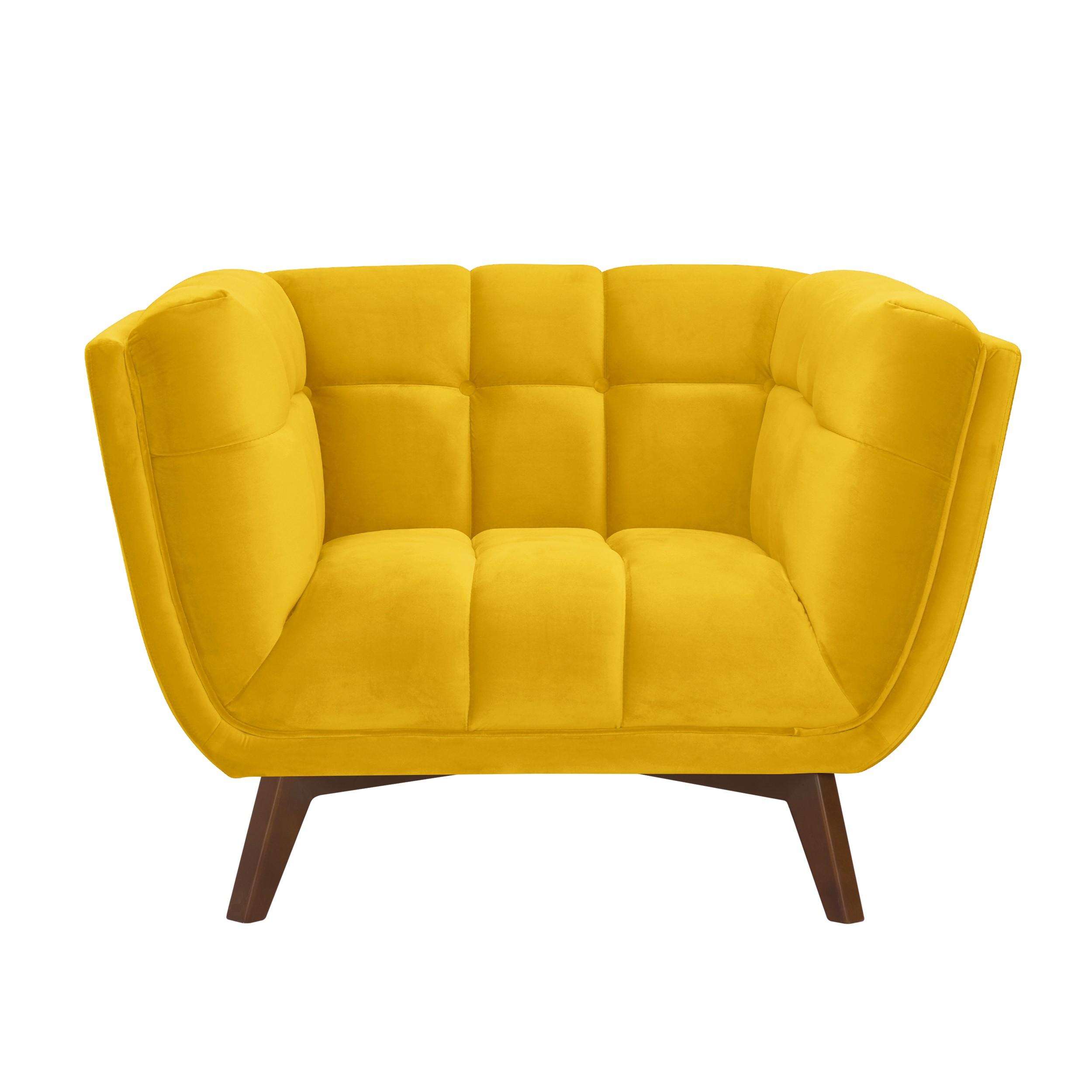 acheter fauteuil velours jaune pieds bois fonces